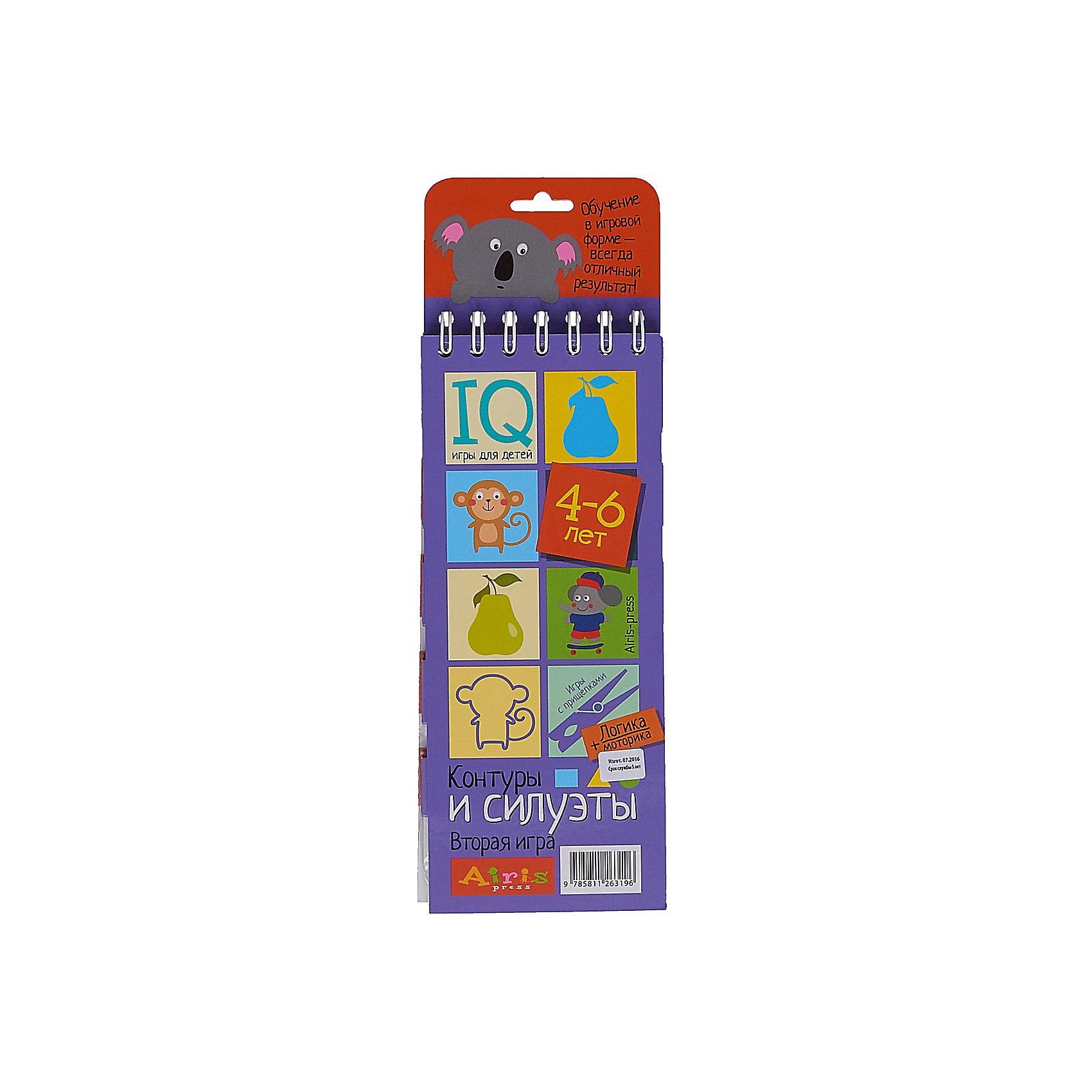 Игры с прищепками Контуры и силуэтыКниги для развития мышления<br>«Контуры и силуэты» – это игровой комплект для развития логического мышления и моторики. Комплект представляет собой небольшой блокнот на пружине, состоящий из 30 картонных карточек, и 8 разноцветных прищепок. Выполняя задания на карточках, ребёнок тренирует внимание и  наблюдательность, развивает образно-пространственное мышление, зрительное восприятие и воображение. Прикрепляя прищепки и проходя лабиринты, он развивает моторику и координацию движений. Проверить правильность своих ответов ребёнок сможет самостоятельно, просто проводя пальчиком по лабиринтам на оборотной стороне карточек. Простота и удобство комплекта позволяют использовать его в детском саду, дома и на отдыхе.&#13;<br>Предназначен для детей старше 4 лет.<br><br>Ширина мм: 15<br>Глубина мм: 95<br>Высота мм: 240<br>Вес г: 138<br>Возраст от месяцев: 48<br>Возраст до месяцев: 72<br>Пол: Унисекс<br>Возраст: Детский<br>SKU: 6849560