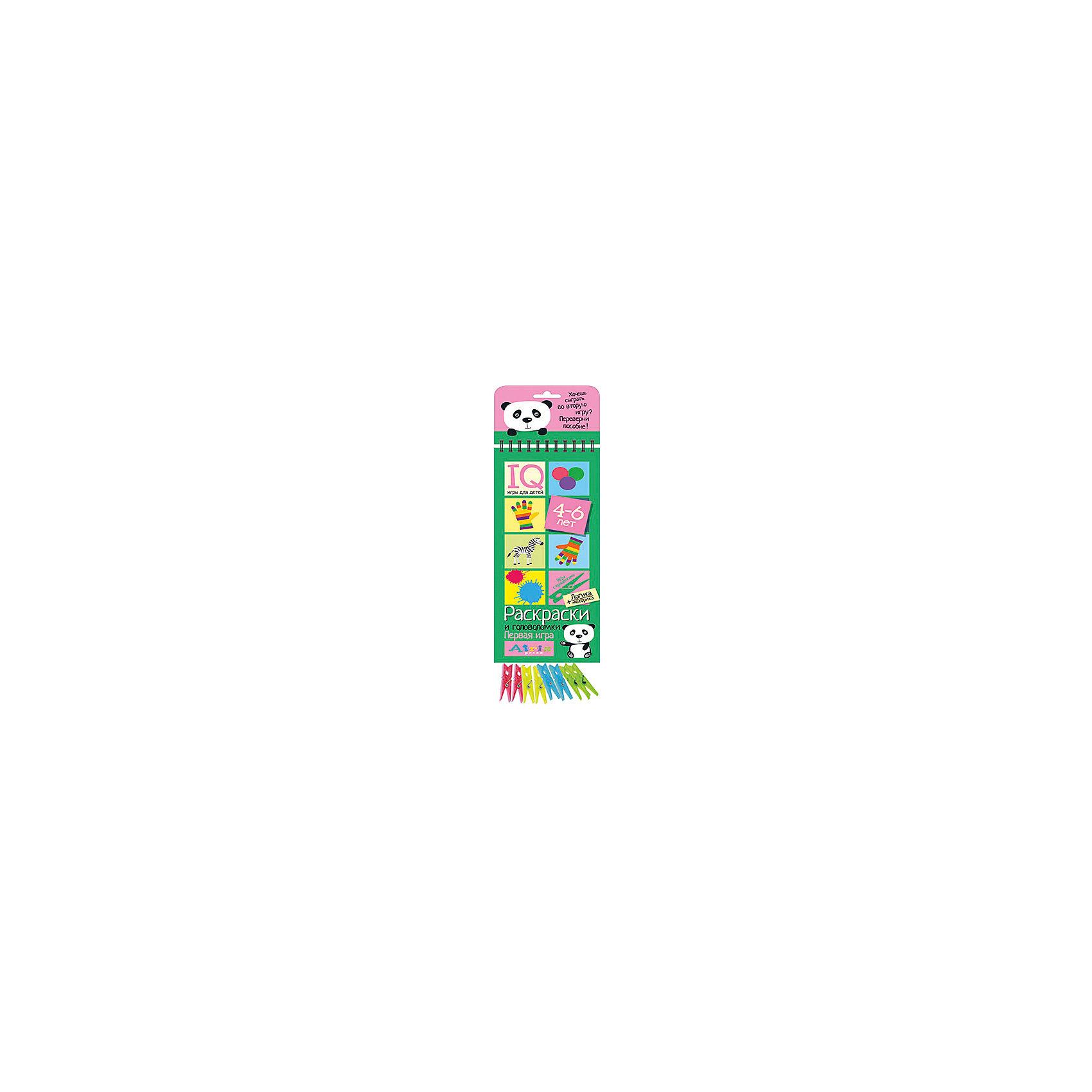 Игры с прищепками Раскраски и головоломкиКниги для развития мышления<br>Характеристики товара:<br><br>• возраст: от 4 лет<br>• комплектация: блокнот на пружине, состоящий из 30 картонных карточек; 8 разноцветных прищепок.<br>• производитель: Айрис-пресс<br>• серия: IQ игры<br>• иллюстрации: цветные<br>• размер блокнота: 23,5х9,5х1,5 см.<br>• размер прищепки: 3,5х0,5х1 см.<br><br>«Раскраски и головоломки» – это развивающий игровой комплект для тренировки способности ребёнка к восприятию цвета и цветовых сочетаний, а также развития логического мышления.<br><br>Комплект представляет собой небольшой блокнот на пружине, состоящий из 30 картонных карточек, и 8 разноцветных прищепок.<br><br>На красочных станицах блокнота в два столбика расположены карточки с рисунками. У каждой карточки есть своя логическая пара. Задача ребенка – найти парные картинки и прикрепить к ним прищепки одного цвета, располагая их в округлых прорезях с боков карточек. Когда все задания на страничке выполнены, ребенок может самостоятельно проверить правильность решения. Для этого нужно перевернуть страницу и провести пальчиком по лабиринту на обратной стороне. Если линия соединяет прищепки одного цвета, значит задание выполнено, правильно.<br><br>Выполняя задания на карточках-страничках, ребёнок учится анализировать, сравнивать, искать логические связи. Прикрепляя прищепки и проходя лабиринты, он развивает моторику и координацию движений.<br><br>Простота и удобство комплекта позволяют использовать его в детском саду, дома и на отдыхе.<br><br>Игры с прищепками Раскраски и головоломки можно купить в нашем интернет-магазине.<br><br>Ширина мм: 15<br>Глубина мм: 95<br>Высота мм: 240<br>Вес г: 155<br>Возраст от месяцев: 48<br>Возраст до месяцев: 72<br>Пол: Унисекс<br>Возраст: Детский<br>SKU: 6849563