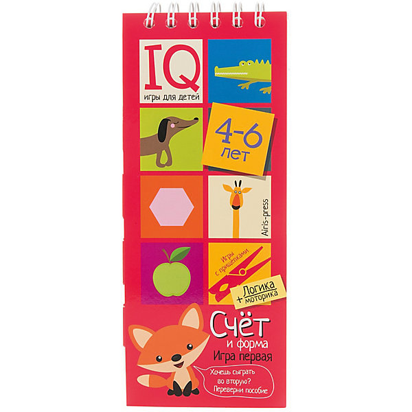Игры с прищепками Счет и формаКниги для развития мышления<br>Характеристики товара:<br><br>• возраст: от 4 лет<br>• комплектация: блокнот на пружине, состоящий из 30 картонных карточек; 8 разноцветных прищепок.<br>• производитель: Айрис-пресс<br>• серия: IQ игры<br>• иллюстрации: цветные<br>• размер блокнота: 23,5х9,5х1,5 см.<br>• размер прищепки: 3,5х0,5х1 см.<br><br>«Счёт и форма» – это игровой комплект, с помощью которого ребенок научится считать до 10, познакомится с основными геометрическими формами, разовьет логическое мышление, внимание, мелкую моторику и координацию.<br><br>Комплект представляет собой небольшой блокнот на пружине, состоящий из 30 картонных карточек, и 8 разноцветных прищепок. Ребенок должен составить пары из картинок, подбирая их по количеству предметов или по форме. Напротив парных изображений он закрепляет прищепки одного цвета. Чтобы узнать правильный ответ, достаточно перевернуть страничку и провести рукой по лабиринту на обратной стороне. Если линия соединяет прищепки одного цвета, значит задание выполнено, правильно.<br><br>Простота и удобство комплекта позволяют использовать его в детском саду, дома и на отдыхе.<br><br>Игры с прищепками Счет и форма можно купить в нашем интернет-магазине.<br>Ширина мм: 15; Глубина мм: 95; Высота мм: 240; Вес г: 138; Возраст от месяцев: 48; Возраст до месяцев: 72; Пол: Унисекс; Возраст: Детский; SKU: 6849567;