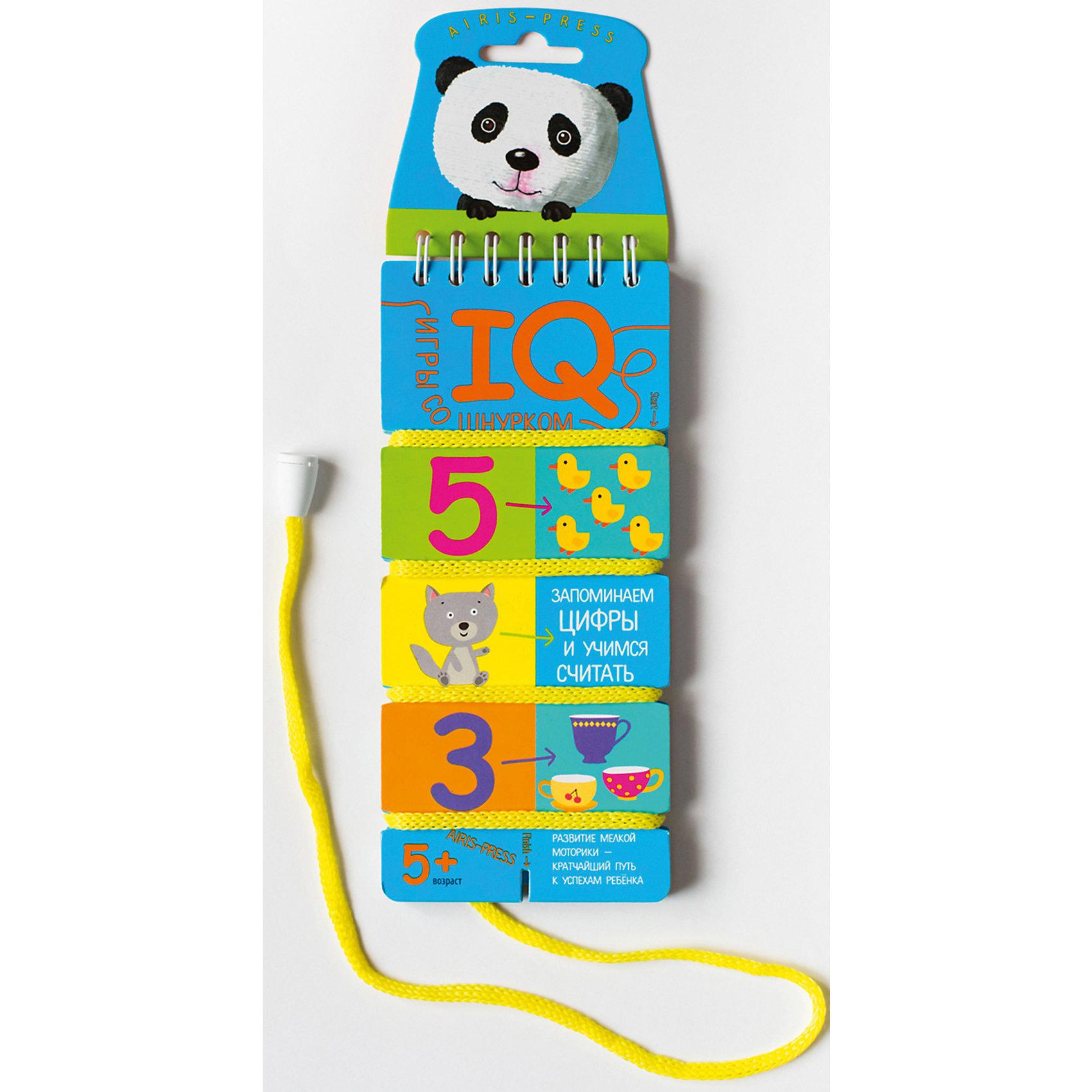 Игры со шнурком Запоминаем цифры и учимся считатьШнуровки<br>Характеристики товара:<br><br>• возраст: от 5 лет<br>• комплектация: блокнот на пружине со шнурком, состоящий из 18 картонных карточек<br>• автор: Куликова Е.Н.<br>• производитель: Айрис-пресс<br>• серия: IQ игры со шнурком<br>• иллюстрации: цветные<br>• размер блокнота: 7х15,5 см.<br>• вес: 66 гр.<br><br>«Запоминаем цифры и учимся считать» - это игровое пособие для развития для развития навыка счёта в пределах 10. Интересная форма выполнения заданий и самопроверки увлекает детей и приучает к самостоятельным занятиям.<br><br>В блокноте 18 игровых карточек, переплёт с пружиной и прочный шнурок, надёжно прикреплённый металлической заклёпкой. На каждой карточке задания: картинки и цифры. Для каждой картинки необходимо подобрать цифру. Схема, по которой нужно подбирать пару, нарисована.<br><br>Для проверки правильности выполнения заданий используется шнурок. Пары последовательно соединяются шнурком. В результате шнурок определенным образом переплетает карточку. Если шнурок будет идти по линиям, нарисованным с обратной стороны карточки, значит задание выполнено, верно.<br><br>Игры со шнурком развивают внимание, усидчивость, самодисциплину, мышление, мелкую моторику и координацию движений. Интуитивно понятные задания помогают ребёнку почувствовать уверенность в своих силах и учиться с удовольствием.<br><br>Игры со шнурком - это простое и удобное пособие для занятий в детском саду, дома и на отдыхе.<br><br>Игры со шнурком Запоминаем цифры и учимся считать можно купить в нашем интернет-магазине.<br><br>Ширина мм: 36<br>Глубина мм: 70<br>Высота мм: 160<br>Вес г: 62<br>Возраст от месяцев: 60<br>Возраст до месяцев: 84<br>Пол: Унисекс<br>Возраст: Детский<br>SKU: 6849568