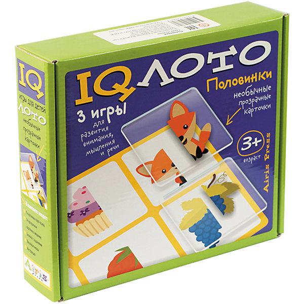Лото Половинки, комплект из трех игр, 3+Лото<br>Характеристики товара:<br><br>• возраст: от 3 лет<br>• комплектация: 9 картонных двухсторонних карт с рисунками; 54 прозрачные пластиковые карточки в мешочке; блокнот с творческими заданиями; набор цветных восковых мелков.<br>• производитель: Айрис-пресс<br>• серия: IQ лото<br>• упаковка: картонная коробка<br>• размер упаковки: 20,8х24,4х5,2 см.<br>• вес: 470 гр.<br><br>Набор «Половинки» – это комплект из трёх развивающих игр. В него входят 9 картонных двухсторонних карт с рисунками, 54 прозрачные пластиковые карточки в мешочке, блокнот с творческими заданиями и набор цветных восковых мелков.<br>  <br>Играя в интеллектуальное лото, ребёнок учится сопоставлять часть и целое, узнаёт, что такое симметрия и асимметрия, развивает умение сравнивать и группировать (суть игры: подобрать половинки, изображенные на прозрачных карточках к половинкам на картонных карточках). Выполняя задания игры-головоломки, он тренирует внимание и память, воображение и речь, а раскрашивая раскраски-половинки в блокноте для творчества – закрепляет полученные знания, развивает художественное восприятие и творческие способности.<br><br>Набор идеально подходит как для игры одного ребёнка, так и для работы с группой детей. Многофункциональность и удобство набора позволяют использовать его в детском саду, дома и на отдыхе.<br><br>Лото Половинки, комплект из трех игр, 3+ можно купить в нашем интернет-магазине.<br>Ширина мм: 55; Глубина мм: 232; Высота мм: 205; Вес г: 100; Возраст от месяцев: 36; Возраст до месяцев: 48; Пол: Унисекс; Возраст: Детский; SKU: 6849577;