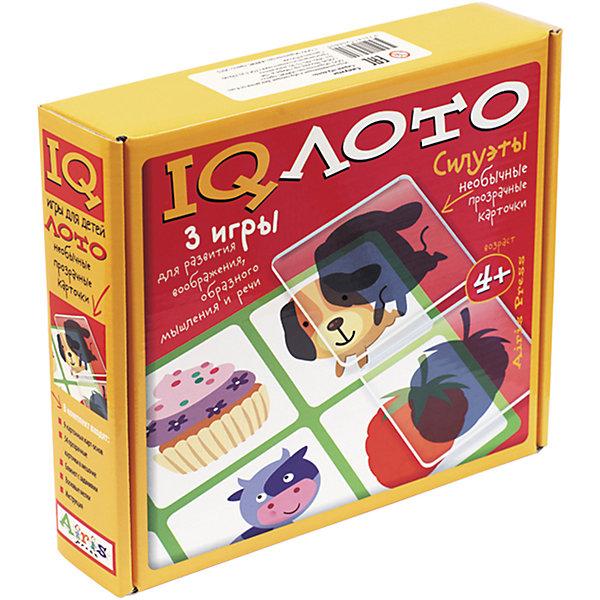 Лото Силуэты, комплект из трех игр, 4+Лото<br>Характеристики товара:<br><br>• возраст: от 4 лет<br>• комплектация: 9 картонных двухсторонних карт с рисунками; 54 прозрачные пластиковые карточки с силуэтами в мешочке; блокнот с творческими заданиями; набор цветных восковых мелков.<br>• производитель: Айрис-пресс<br>• серия: IQ лото<br>• упаковка: картонная коробка<br>• размер упаковки: 20,7х24х5,5 см.<br>• вес: 424 гр.<br><br>Набор «Силуэты» – это комплект из трёх развивающих игр. В него входят: 9 картонных двухсторонних карт с рисунками, 54 прозрачные пластиковые карточки с силуэтами в мешочке, блокнот с творческими заданиями и набор цветных восковых мелков.<br><br>Играя в интеллектуальное лото, ребёнок будет соотносить предмет и его проекцию, выделять детали образа, формировать образ по силуэту (суть игры: подобрать силуэты, изображенные на прозрачных карточках к картинкам на картонных карточках). Выполняя задания игры-головоломки, он учится замечать, рассматривать и запоминать детали, исправляет «ошибки» художника, фантазирует, придумывая истории на основе любимых сказок. Используя блокнот для творчества, ребёнок создаёт новые образы, развивает художественное восприятие и творческие способности.<br><br>Набор прекрасно подходит как для игры одного ребёнка, так и для работы с группой детей. Многофункциональность и удобство набора позволяют использовать его в детском саду, дома и на отдыхе.<br><br>Лото Силуэты, комплект из трех игр, 4+ можно купить в нашем интернет-магазине.<br><br>Ширина мм: 55<br>Глубина мм: 232<br>Высота мм: 205<br>Вес г: 100<br>Возраст от месяцев: 48<br>Возраст до месяцев: 60<br>Пол: Унисекс<br>Возраст: Детский<br>SKU: 6849578