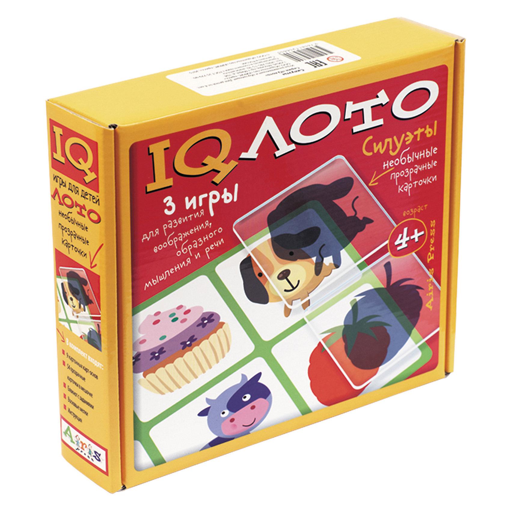 Лото Силуэты, комплект из трех игр, 4+Лото<br>Набор «Силуэты» – это комплект из трёх развивающих игр. В него входят: 9 картонных двухсторонних карт с рисунками, 54 прозрачные пластиковые карточки в мешочке, блокнот с творческими заданиями и набор цветных восковых мелков.&#13;<br>Играя в интеллектуальное лото, ребёнок будет соотносить предмет и его проекцию, выделять детали образа, формировать образ по силуэту. Выполняя задания игры-головоломки, он учится замечать, рассматривать и запоминать детали; исправляет «ошибки» художника; фантазирует, придумывая истории на основе любимых сказок. Используя блокнот для творчества ребёнок создаёт новые образы, развивает художественное восприятие и творческие способности. Набор прекрасно подходит как для игры одного ребёнка, так и для работы с группой детей. Многофункциональность и удобство набора позволяют использовать его в детском саду, дома и на отдыхе.&#13;<br>Набор предназначен для детей старше 4 лет.<br><br>Ширина мм: 55<br>Глубина мм: 232<br>Высота мм: 205<br>Вес г: 100<br>Возраст от месяцев: 48<br>Возраст до месяцев: 60<br>Пол: Унисекс<br>Возраст: Детский<br>SKU: 6849578