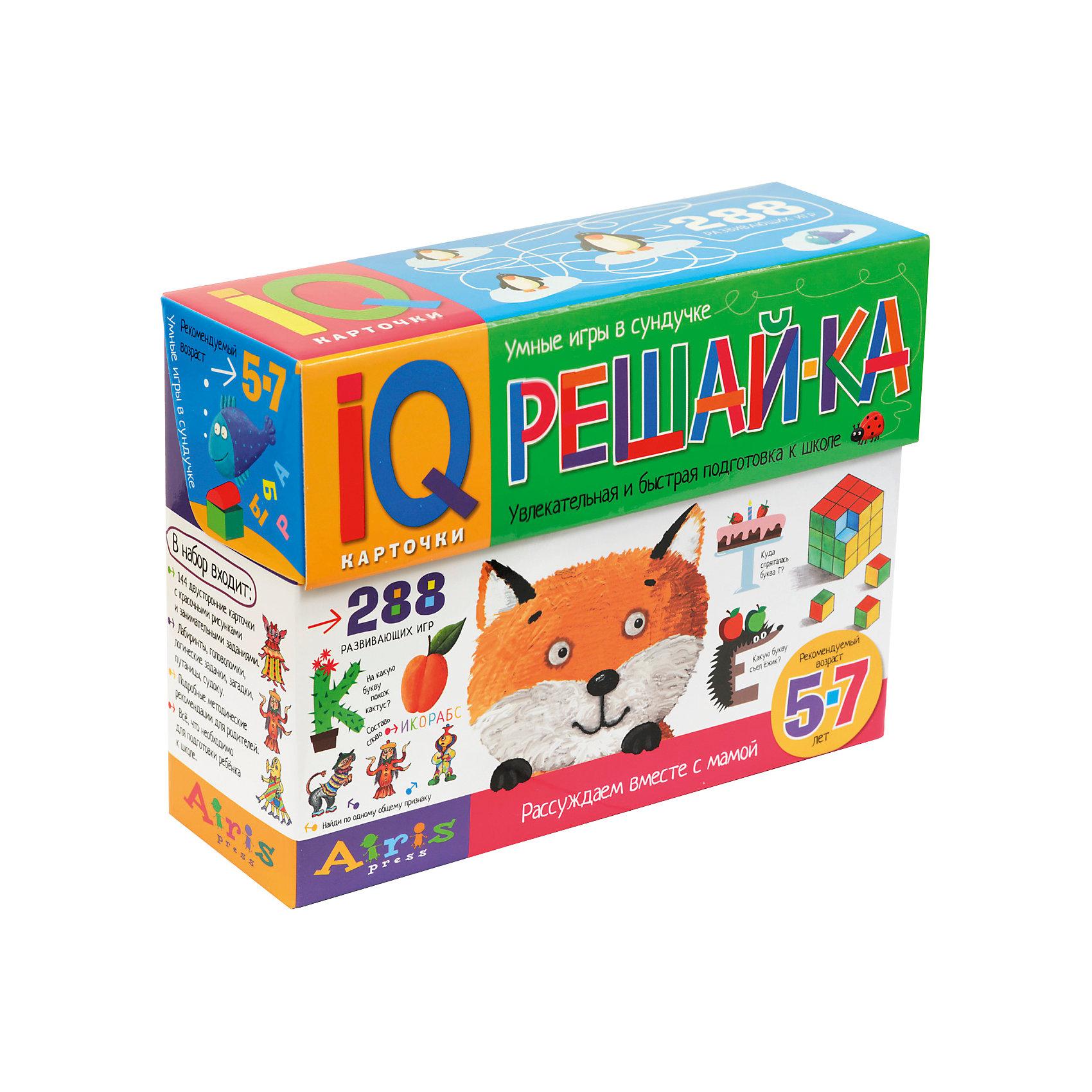 228 игр в коробке Рассуждаем вместе с мамой: решай-ка, Куликова Е НКниги для развития мышления<br>Издание представляет собой набор игровых карточек для всестороннего развития ребёнка 5-7 лет. В набор входят 144 двусторонние карточки с заданиями, которые направлены на развитие основных психических функций: сенсорики, внимания и памяти, мышления, воображения и речи. Дети могут выполнять задания тремя способами: устно,  показывать пальчиком, письменно. В последнем случае  карточку удобно поместить в прозрачный файл формата А5. С одной стороны, он защитит бумагу от повреждений, а с другой, позволит многократно использовать карточку, поскольку с плёнки легко удалить фломастер, пластилин или краску. &#13;<br>В методическом пособии  даны примерные вопросы к каждому заданию, на которые ребёнку нужно ответить и ответы, по которым родители смогут проверить правильно ли ребенок справился с работой. &#13;<br>Издание адресовано родителяи и воспитателям детских дошкольных учреждений.<br><br>Ширина мм: 80<br>Глубина мм: 220<br>Высота мм: 165<br>Вес г: 1300<br>Возраст от месяцев: 60<br>Возраст до месяцев: 84<br>Пол: Унисекс<br>Возраст: Детский<br>SKU: 6849580