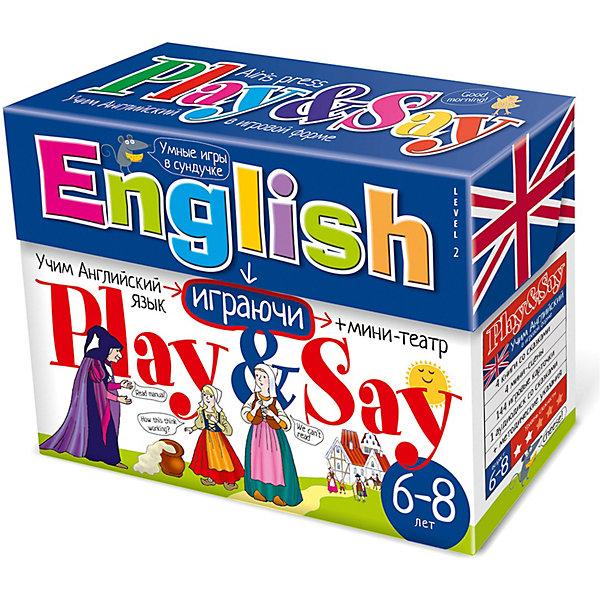 Учим английский язык Play&amp;Say, уровень 2, синийИностранный язык<br>Характеристики товара:<br><br>• возраст: от 5 лет<br>• комплектация: 4 книги со сказками («Колобок», «Златовласка», «Волшебный горшочек каши», «Три поросёнка становятся детективами»); компакт-диск; набор игровых карточек; объемный мини-театр (4 мини-сцены, герои, предметы из сказок); сборник с методическими рекомендациями.<br>• художники: Скрипниченко Кира, Башлыкова А. В., Кукушкин А. И. и другие<br>• редактор: Владимирова А. А.<br>• производитель: Айрис-пресс<br>• серия: Умные игры в сундучке<br>• упаковка: картонная коробка-сундучок<br>• размер упаковки: 16,5х22,5х7,6 см.<br>• вес: 678 гр.<br><br>Набор Учим английский язык «Play&amp;Say», уровень 2 из серии «Умные игры в сундучке» поможет детям преодолеть языковой барьер и начать говорить по-английски.<br><br>В набор входят 4 книги со сказками, адаптированными специально для детей младшего школьного возраста («Колобок», «Златовласка», «Волшебный горшочек каши», «Три поросёнка становятся детективами»). К сказкам прилагается компакт-диск, на котором представлены аудиозаписи сказок. Также в сундучке вы найдёте набор игровых карточек, разработанный таким образом, что ребёнок во время игры сможет с удовольствием и не заметно для себя выучить новые английские слова (более 200 слов), научиться строить предложения, вести диалог, описывать героев и комментировать события. В набор также входит объемный мини-театр с игровыми фигурками (4 мини-сцены, герои и предметы из сказок). Мини-театр позволит разыграть четыре спектакля по мотивам входящих в набор сказок.<br><br>Кроме того, в сундучке вы найдёте сборник с методическими рекомендациями, который поможет вам правильно организовать работу со всеми элементами набора.<br><br>Набор Учим английский язык Play&amp;Say, уровень 2, синий можно купить в нашем интернет-магазине.<br>Ширина мм: 65; Глубина мм: 220; Высота мм: 165; Вес г: 700; Возраст от месяцев: -2147483648; Возраст до месяцев: 2147483647; Пол: Унисе