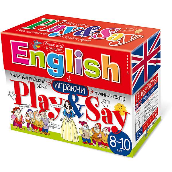 Учим английский язык Play&amp;Say, уровень 3, красныйИностранный язык<br>Характеристики товара:<br><br>• возраст: от 8 лет<br>• комплектация: 4 книги со сказками («Красная шапочка», «Белоснежка», «Красавица и чудовище», «Золушка»); компакт-диск; набор игровых карточек; объемный мини-театр (8 мини-сцен, герои, предметы из сказок); сборник с методическими рекомендациями.<br>• производитель: Айрис-пресс<br>• серия: Умные игры в сундучке<br>• упаковка: картонная коробка-сундучок<br>• размер упаковки: 17х22х7,8 см.<br>• вес: 846 гр.<br><br>Набор Учим английский язык «Play&amp;Say», уровень 3 из серии «Умные игры в сундучке» поможет детям преодолеть языковой барьер и начать говорить по-английски.<br><br>В набор входят 4 книги со сказками, адаптированными специально для детей младшего школьного возраста «Красная шапочка», «Белоснежка», «Красавица и чудовище», «Золушка»). К сказкам прилагается компакт-диск, на котором представлены аудиозаписи сказок. Также в сундучке вы найдёте набор игровых карточек, разработанный таким образом, что ребёнок во время игры сможет с удовольствием и не заметно для себя выучить новые английские слова (более 300 слов), научиться строить предложения, вести диалог, описывать героев и комментировать события. В набор также входит объемный мини-театр с игровыми фигурками (8 мини-сцен, герои и предметы из сказок). Мини-театр позволит разыграть спектакли по мотивам входящих в набор сказок.<br><br>Кроме того, в сундучке вы найдёте сборник с методическими рекомендациями, который поможет вам правильно организовать работу со всеми элементами набора.<br><br>Набор Учим английский язык Play&amp;Say, уровень 3, красный можно купить в нашем интернет-магазине.<br><br>Ширина мм: 65<br>Глубина мм: 220<br>Высота мм: 165<br>Вес г: 750<br>Возраст от месяцев: -2147483648<br>Возраст до месяцев: 2147483647<br>Пол: Унисекс<br>Возраст: Детский<br>SKU: 6849583