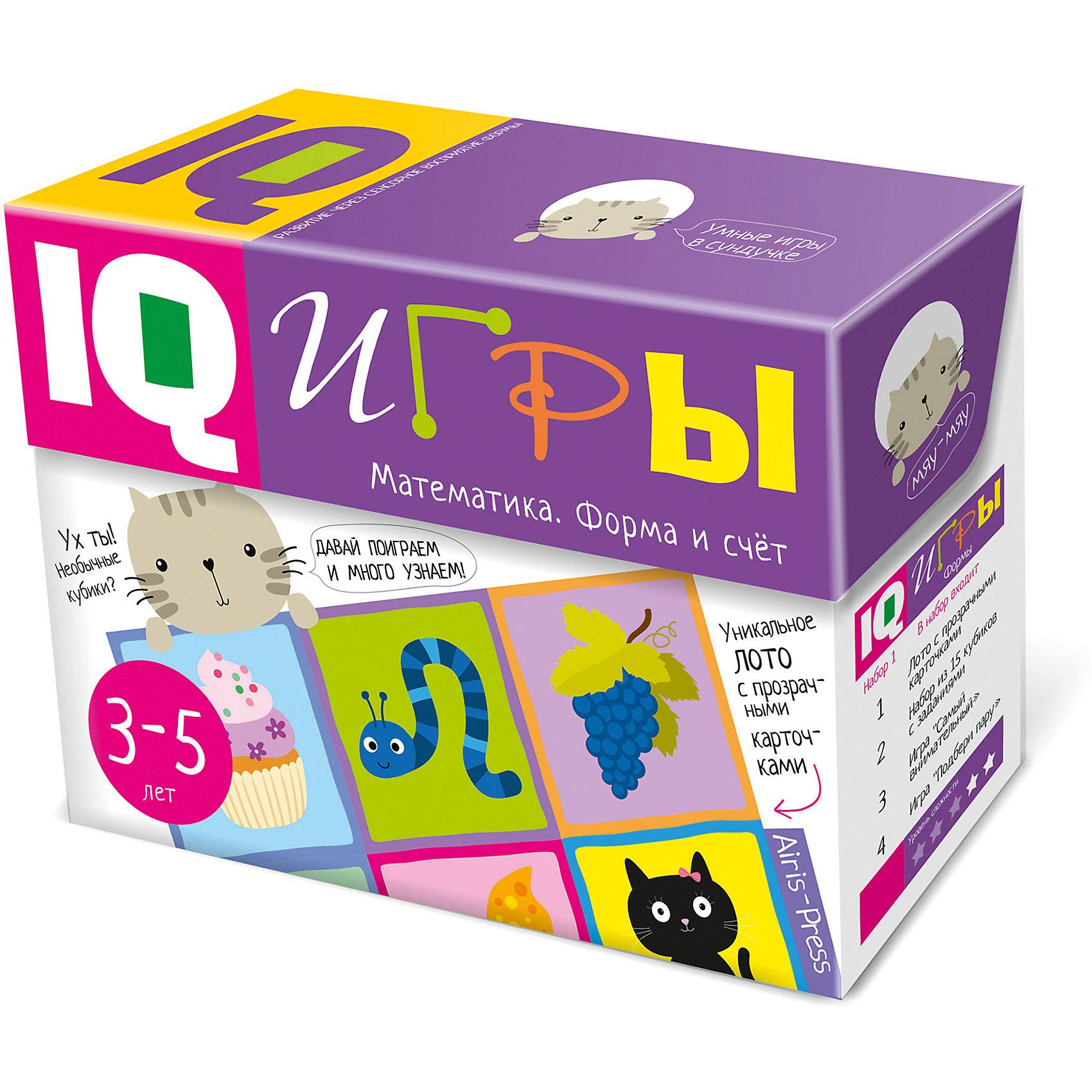 Сундучок с  IQ играми Математика: Форма и счет, 3-5 летПособия для обучения счёту<br>Характеристики товара:<br><br>• возраст: от 3 лет<br>• комплектация: IQ-лото с 54 прозрачными карточками; 12 кубиков с цветным изображением животных; красочная игра-головоломка «Я самый внимательный!»; игра с прищепками «Подбери пару»; игра с объёмными цифрами «Трафареты»; методическое пособие.<br>• производитель: Айрис-пресс<br>• серия: Умные игры в сундучке<br>• упаковка: картонная коробка-сундучок<br>• размер упаковки: 16,6х22,8х8,5 см.<br>• вес: 746 гр.<br><br>IQ-игры «Математика. Форма и счёт» — это набор интересных игр для активной подготовки к школе.<br><br>В игровой комплект включены 5 развивающих игр: IQ-лото с 54 прозрачными карточками, 12 кубиков с цветным изображением животных, красочная игра-головоломка «Я самый внимательный!», необычная игра с прищепками «Подбери пару», игра с объёмными цифрами «Трафареты», а также методическое пособие с подробным описанием заданий.<br><br>Игры направлены на развитие сенсорики, внимания, памяти, мышления, воображения и речи. В процессе игры ребёнок научится узнавать форму предмета по его части, приобретёт начальные математические знания, изучит геометрические фигуры. Он сможет самостоятельно определять, правильно ли выполнено задание, научится находить свои ошибки и исправлять их. Играть можно вдвоём (если ребёнок маленький) или в компании (хороший вариант для старших дошкольников).<br><br>Сундучок с  IQ играми Математика: Форма и счет, 3-5 лет можно купить в нашем интернет-магазине.<br><br>Ширина мм: 80<br>Глубина мм: 220<br>Высота мм: 165<br>Вес г: 750<br>Возраст от месяцев: 36<br>Возраст до месяцев: 60<br>Пол: Унисекс<br>Возраст: Детский<br>SKU: 6849584