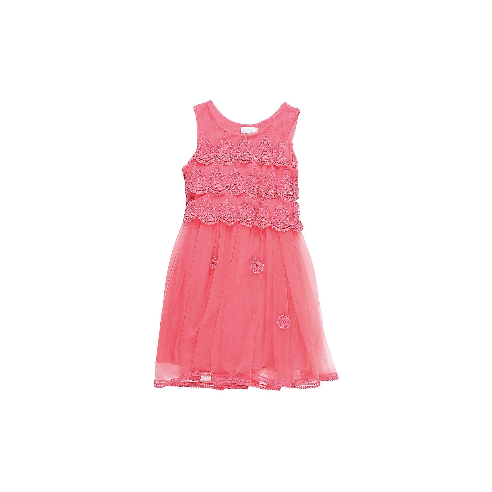 Платье для девочки Sweet BerryОдежда<br>Характеристики товара:<br><br>• цвет: розовый<br>• сезон: круглый год<br>• состав: верх: 100% полиэстер, подкладка: 100% хлопок<br>• стиль: праздник<br>• короткий рукав<br>• особенности: нарядное, пышное<br>• страна бренда: Россия<br>• страна производитель: Китай<br><br>Текстильное платье для девочки, выполненное с подкладкой из 100% хлопковой ткани. <br><br>Верхняя часть изготовлена в виде отдельного кружевного топа и прозрачной юбки из фатина. <br><br>Платье розового цвета - стильный и модный наряд для детских мероприятий или праздников.<br><br>Платье для девочки Sweet Berry можно купить в нашем интернет-магазине.<br><br>Ширина мм: 236<br>Глубина мм: 16<br>Высота мм: 184<br>Вес г: 177<br>Цвет: розовый<br>Возраст от месяцев: 36<br>Возраст до месяцев: 48<br>Пол: Женский<br>Возраст: Детский<br>Размер: 104,110,116,128,140,98<br>SKU: 6849903