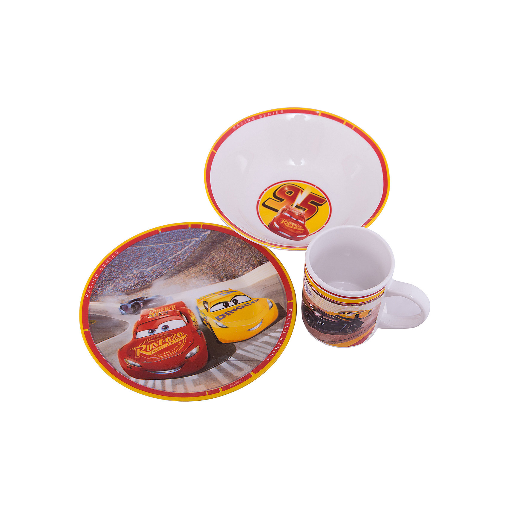 Набор посуды Тачки 3 в подарочной упаковке, 3 предмета, DisneyТачки<br>Характеристики:<br><br>• Материал: керамика<br>• Тематика рисунка: Тачки<br>• Комплектация: кружка – 240 мл, миска – 18 см, тарелка – 19 см<br>• Можно использовать для горячих и холодных напитков<br>• Упаковка: подарочная картонная коробка<br>• Вес: 980 г<br>• Размеры (Д*Ш*В): 12*8,2*9,5 см<br>• Особенности ухода: можно мыть в посудомоечной машине<br><br>Набор посуды Тачки 3 в подарочной упаковке, 3 предмета, Disney включает в себя миска для первого блюда, тарелку для вторых блюд и кружку. Все изделия выполнены в стильном дизайне: на белый корпус нанесено изображение героев популярного мультсериала Тачки. Изображение устойчиво к появлению царапин, не выцветает при частом мытье. <br><br>Набор посуды Тачки 3 в подарочной упаковке, 3 предмета, Disney можно купить в нашем интернет-магазине.<br><br>Ширина мм: 120<br>Глубина мм: 82<br>Высота мм: 95<br>Вес г: 980<br>Возраст от месяцев: 36<br>Возраст до месяцев: 1188<br>Пол: Унисекс<br>Возраст: Детский<br>SKU: 6849962