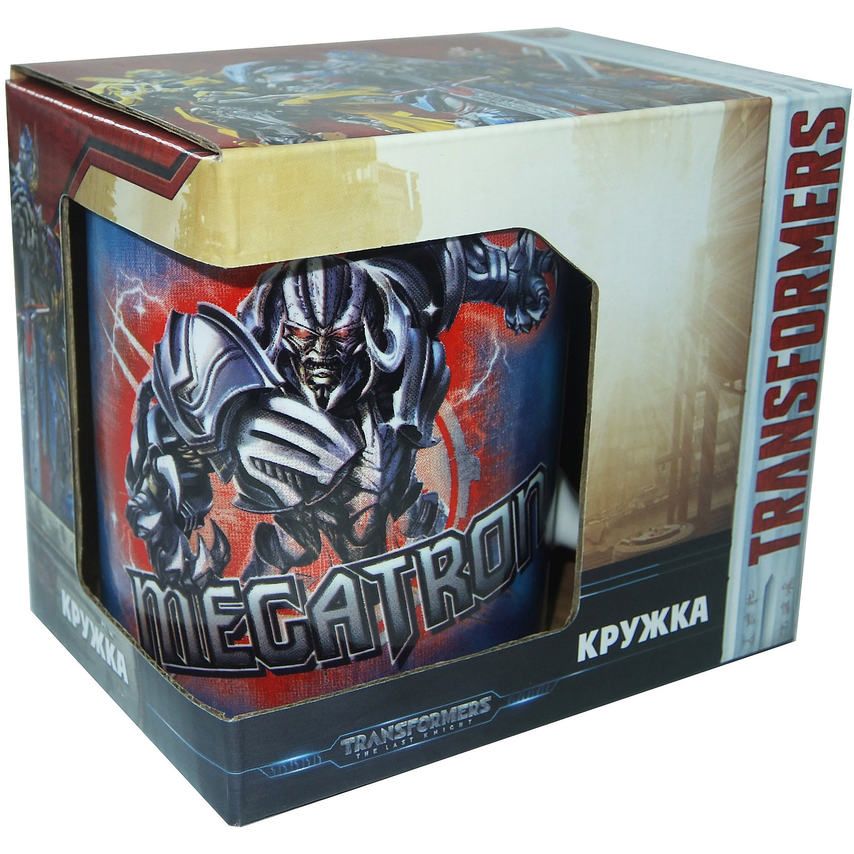 Кружка Transformers Последний рыцарь. Противостояние в подарочной упаковке, 350 мл.Посуда<br>Характеристики:<br><br>• Материал: керамика<br>• Тематика рисунка: Трансформеры<br>• Можно использовать для горячих и холодных напитков<br>• Упаковка: подарочная картонная коробка<br>• Объем: 350 мл<br>• Вес: 360 г<br>• Размеры (Д*Ш*В): 12*8,2*9,5 см<br>• Особенности ухода: можно мыть в посудомоечной машине<br><br>Кружка Transformers Последний рыцарь. Противостояние в подарочной упаковке, 350 мл выполнена в стильном дизайне: на синий корпус нанесено изображение героев популярного мультсериала Трансформеры – Оптимуса Прайма и Мегатрона. Изображения детально отражает облик экранных прототипов, устойчивы к появлению царапин, не выцветают при частом мытье. <br><br>Кружку Transformers Последний рыцарь. Противостояние в подарочной упаковке, 350 мл можно купить в нашем интернет-магазине.<br><br>Ширина мм: 120<br>Глубина мм: 82<br>Высота мм: 95<br>Вес г: 360<br>Возраст от месяцев: 36<br>Возраст до месяцев: 1188<br>Пол: Мужской<br>Возраст: Детский<br>SKU: 6849968