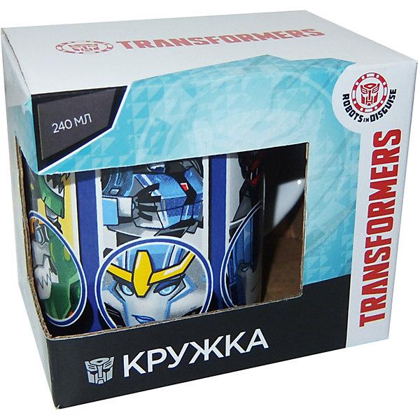 Кружка Transformers Роботы под прикрытием в подарочной упаковке, 240 мл,Детская посуда<br>Характеристики:<br><br>• Материал: керамика<br>• Тематика рисунка: Трансформеры<br>• Можно использовать для горячих и холодных напитков<br>• Упаковка: подарочная картонная коробка<br>• Объем: 240 мл<br>• Вес: 280 г<br>• Размеры (Д*Ш*В): 12*8,2*9,5 см<br>• Особенности ухода: можно мыть в посудомоечной машине<br><br>Кружка Transformers Роботы под прикрытием в подарочной упаковке, 240 мл выполнена в стильном дизайне: на синий корпус нанесено изображение героев популярного мультсериала Трансформеры. Изображение детально отражает облик экранного прототипа, устойчиво к появлению царапин, не выцветает при частом мытье. <br><br>Кружку Transformers Роботы под прикрытием в подарочной упаковке, 240 мл можно купить в нашем интернет-магазине.<br>Ширина мм: 120; Глубина мм: 82; Высота мм: 95; Вес г: 280; Возраст от месяцев: 36; Возраст до месяцев: 1188; Пол: Мужской; Возраст: Детский; SKU: 6849972;