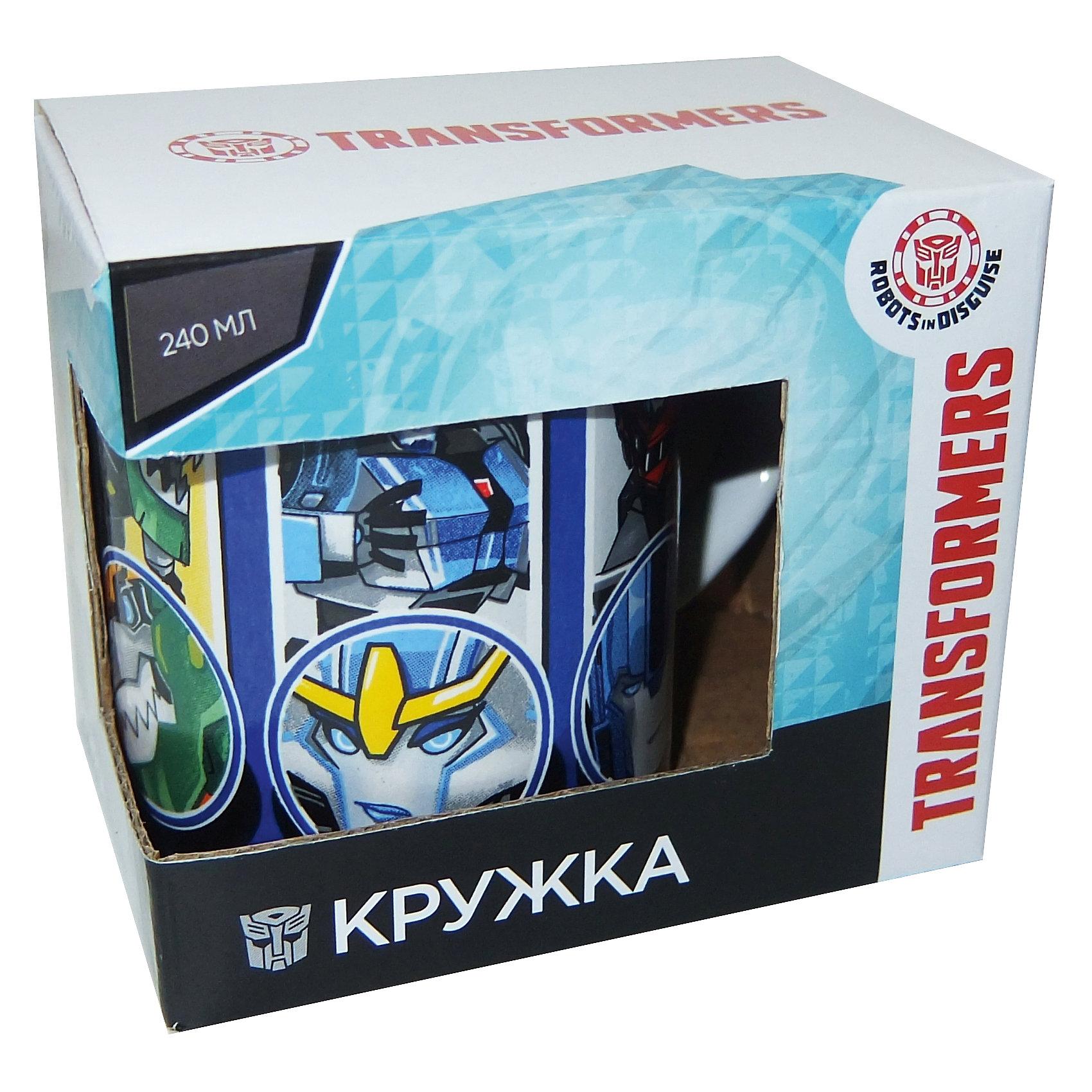 Кружка Transformers Роботы под прикрытием в подарочной упаковке, 240 мл,Посуда<br>Характеристики:<br><br>• Материал: керамика<br>• Тематика рисунка: Трансформеры<br>• Можно использовать для горячих и холодных напитков<br>• Упаковка: подарочная картонная коробка<br>• Объем: 240 мл<br>• Вес: 280 г<br>• Размеры (Д*Ш*В): 12*8,2*9,5 см<br>• Особенности ухода: можно мыть в посудомоечной машине<br><br>Кружка Transformers Роботы под прикрытием в подарочной упаковке, 240 мл выполнена в стильном дизайне: на синий корпус нанесено изображение героев популярного мультсериала Трансформеры. Изображение детально отражает облик экранного прототипа, устойчиво к появлению царапин, не выцветает при частом мытье. <br><br>Кружку Transformers Роботы под прикрытием в подарочной упаковке, 240 мл можно купить в нашем интернет-магазине.<br><br>Ширина мм: 120<br>Глубина мм: 82<br>Высота мм: 95<br>Вес г: 280<br>Возраст от месяцев: 36<br>Возраст до месяцев: 1188<br>Пол: Мужской<br>Возраст: Детский<br>SKU: 6849972