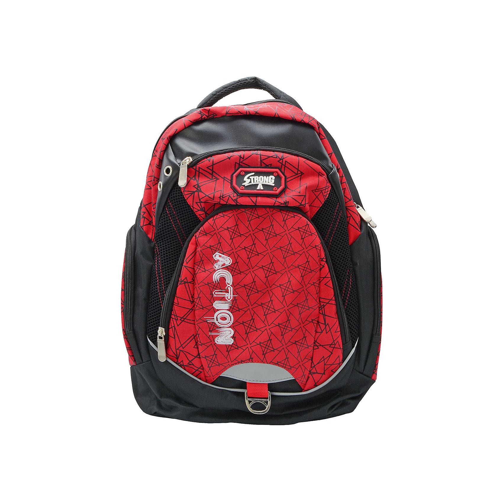 Рюкзак ACTION!Рюкзаки<br>Вес:600грамм<br>Размер: 43 x 30 x 15 см<br>Состав: рюкзак<br>Наличие светоотражающих элементов: да<br>Материал: полиэстер<br>Объем: 22л<br>Спина: мягкая<br>Наличие дополнительных карманов внутри: да<br>Дно выбрать: уплотненное<br>Количество отделений внутри: 1<br>Боковые карманы: есть <br>Замок: молния<br>Вмещает А4: да<br>Подойдет для возраста какого 10-13 лет для роста 146-1162<br>Рюкзак в современном молодежном стиле, с оригинальным принтом, с логотипом ACTION. <br>Одно основное отделение на молнии. Нa лицевой строне имются 2 кармана различного диаметра. По бокам-карманы на молнии. Мягкая спинка. Нa Задних регулируемых снизу лямках и на лицевой стороне имеются светооттражающие полоски безопасности. Верхняя плотная тканевая ручка.<br><br>Ширина мм: 300<br>Глубина мм: 150<br>Высота мм: 430<br>Вес г: 600<br>Возраст от месяцев: 72<br>Возраст до месяцев: 156<br>Пол: Мужской<br>Возраст: Детский<br>SKU: 6850023