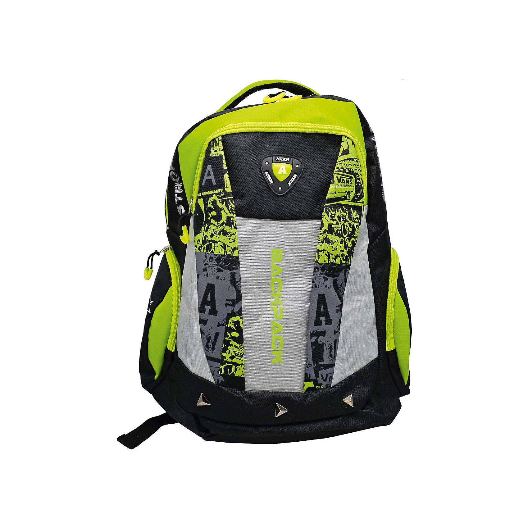 Рюкзак ACTION!Рюкзаки<br>Вес:600грамм<br>Размер: 43 x 30 x 15 см<br>Состав: рюкзак<br>Наличие светоотражающих элементов: да<br>Материал: полиэстер<br>Объем: 22л<br>Спина: мягкая<br>Наличие дополнительных карманов внутри: да<br>Дно выбрать: уплотненное<br>Количество отделений внутри: 1<br>Боковые карманы: есть <br>Замок: молния<br>Вмещает А4: да<br>Подойдет для возраста какого 10-13 лет для роста 146-1162<br>Рюкзак в современном молодежном стиле, с оригинальным принтом и декоративными элементами, с логотипом ACTION.<br>Одно основное отделение на молнии. На лицевой строне имеется один большой карман горизонтальной загрузки. По бокам - карманы на молнии. На молниях - декоративные завязки.<br>Уплотненная рельефная спинка, создающая эффект жесткости для комфортного ношения на  спине. Задние регулируемые снизу лямки имеют светоотражающие полоски безопасности.<br>Верхняя плотная тканевая ручка.<br><br>Ширина мм: 300<br>Глубина мм: 150<br>Высота мм: 430<br>Вес г: 600<br>Возраст от месяцев: 72<br>Возраст до месяцев: 156<br>Пол: Мужской<br>Возраст: Детский<br>SKU: 6850024