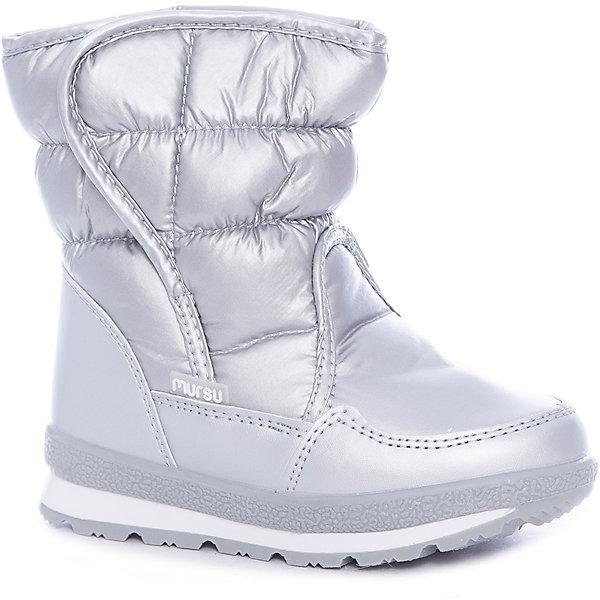 Дутики Mursu для девочкиОбувь<br>Характеристики товара:<br><br>• цвет: серый<br>• материал верха: искусственная кожа, текстиль<br>• подклад: натуральная шерсть <br>• стелька: натуральная шерсть  <br>• подошва: ТЭП<br>• сезон: зима<br>• температурный режим: от 0 до -20<br>• подошва не скользит<br>• застежка: липучка<br>• анатомические <br>• страна бренда: Финляндия<br>• страна изготовитель: Китай<br><br>Дутики Mursu выполнены в красивом цвете. Высокое голенище помогает предотвратить промокание ног и попадание снега в обувь. Благодаря шерстяной подкладке дутики позволяют сохранить ноги в тепле и обеспечить им комфортный микроклимат.<br><br>Обувь Мурсу - это качественная финская продукция, которая помогает детям выглядеть модно и чувствовать себя удобно.<br><br>Дутики для девочки Mursu можно купить в нашем интернет-магазине.<br>Ширина мм: 257; Глубина мм: 180; Высота мм: 130; Вес г: 420; Цвет: серебряный; Возраст от месяцев: 18; Возраст до месяцев: 21; Пол: Женский; Возраст: Детский; Размер: 27,22,24,23,25,26; SKU: 6852606;