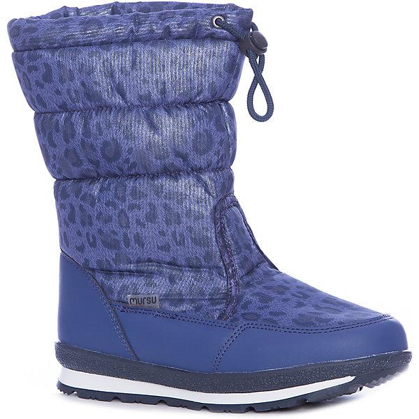 Дутики Mursu для девочкиОбувь<br>Характеристики товара:<br><br>• цвет: синий<br>• материал верха: искусственная кожа, текстиль<br>• подклад: натуральная шерсть <br>• стелька: натуральная шерсть  <br>• подошва: ТЭП<br>• сезон: зима<br>• температурный режим: от 0 до -20<br>• подошва не скользит<br>• застежка: утяжка<br>• анатомические <br>• страна бренда: Финляндия<br>• страна изготовитель: Китай<br><br>Дутики Mursu выполнены в красивом ярком цвете. Высокое голенище помогает предотвратить промокание ног и попадание снега в обувь. Благодаря шерстяной подкладке дутики позволяют сохранить ноги в тепле и обеспечить им комфортный микроклимат.<br><br>Обувь Мурсу - это качественная финская продукция, которая помогает детям выглядеть модно и чувствовать себя удобно.<br><br>Дутики для девочки Mursu можно купить в нашем интернет-магазине.<br><br>Ширина мм: 257<br>Глубина мм: 180<br>Высота мм: 130<br>Вес г: 420<br>Цвет: синий<br>Возраст от месяцев: 156<br>Возраст до месяцев: 168<br>Пол: Женский<br>Возраст: Детский<br>Размер: 37,32,36,35,34,33<br>SKU: 6852655