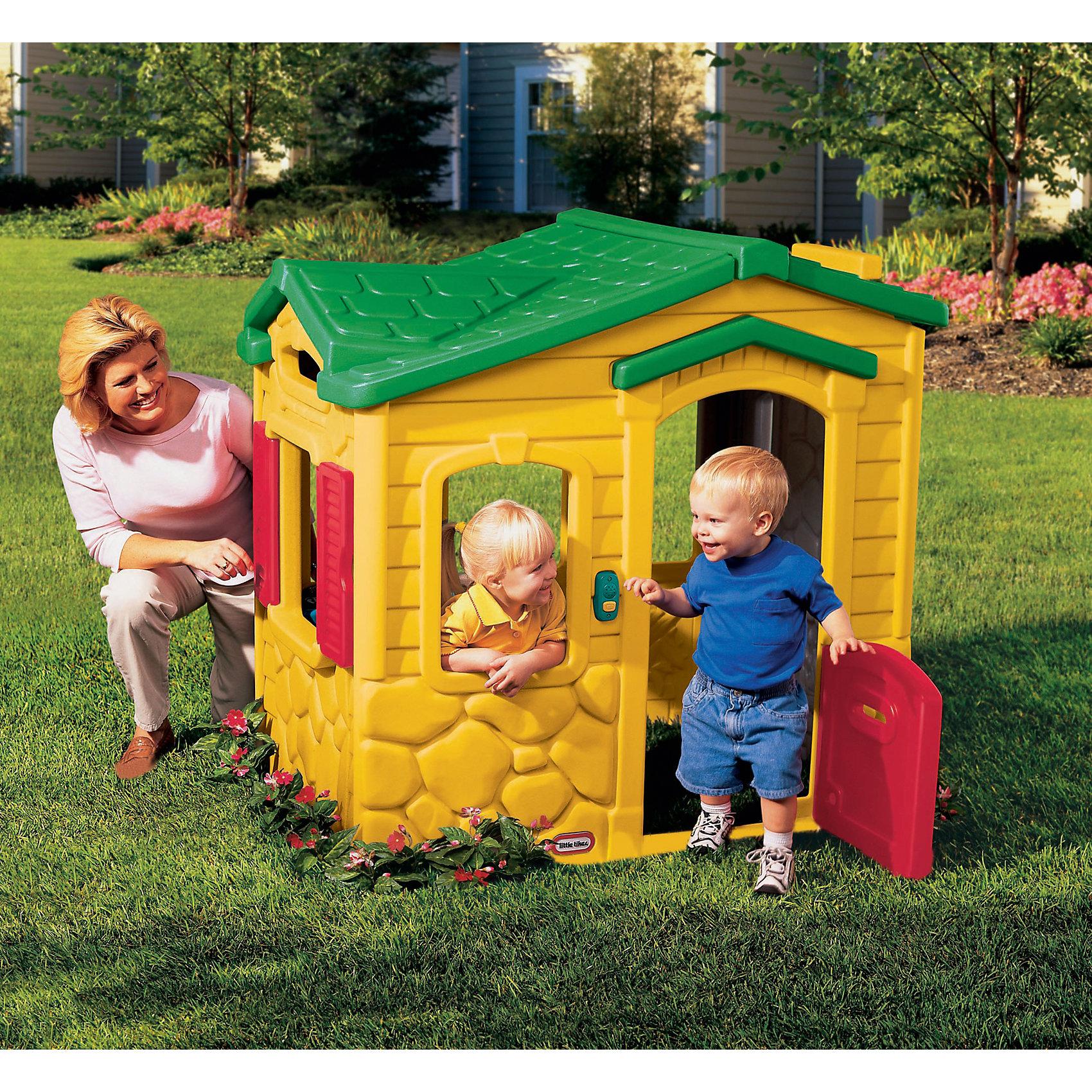 Игровой домик Волшебный звонок, Little TikesДомики и мебель<br>Замечательный домик для малышей от 1,5 лет, изготовлен из ярких качественных материалов, есть звонок с 6-ю различными мелодиями (батарейки не входят в комплект), со ставнями, с легко открывающейся дверью, в которой есть <br>даже прорезь для почты. Домик достаточно вместительный  для того, чтобы малыш смог пригласить в гости друзей или разместить свои любимые игрушки. Для детей от 1,5 до 5-х лет. Размеры домика: 128 х 94 х 121 см (длина, ширина, высота). Размеры упаковки: 114 х 39 х 118. Вес упаковки: 31 кг. Объем упаковки: 0,56 м3.<br><br>Ширина мм: 1140<br>Глубина мм: 400<br>Высота мм: 1190<br>Вес г: 303726<br>Возраст от месяцев: 180<br>Возраст до месяцев: 60<br>Пол: Унисекс<br>Возраст: Детский<br>SKU: 6853718