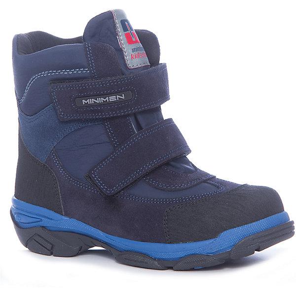 Ботинки для мальчика MinimenБотинки<br>Характеристики товара:<br><br>• цвет: синий<br>• пол: мальчик<br>• внешний материал: натуральная кожа, текстиль<br>• внутренний материал: натуральный мех<br>• стелька: натуральный мех<br>• подошва: ТЭП<br>• сезон: зима<br>• температурный режим: 0 до -25 С<br>• анатомические<br>• застежка: липучка<br>• высокие<br>• защищенный мыс<br>• страна производства: Турция<br>• страна бренда: Турция<br><br>Ботинки зимние Минимен (Турция) выполнены из натуральной кожи, внутри натуральный мех, стелька съемная. Мыс защищен прорезиненной накладкой, подошва рефленая. Застегиваются ботинки на две липучки.<br><br>Ботинки на меху для мальчика от известного бренда Minimen (Минимен) можно купить в нашем интернет-магазине.<br><br>Ширина мм: 262<br>Глубина мм: 176<br>Высота мм: 97<br>Вес г: 427<br>Цвет: синий<br>Возраст от месяцев: 15<br>Возраст до месяцев: 18<br>Пол: Мужской<br>Возраст: Детский<br>Размер: 22,27,28,29,30,23,24,25,26<br>SKU: 6855070