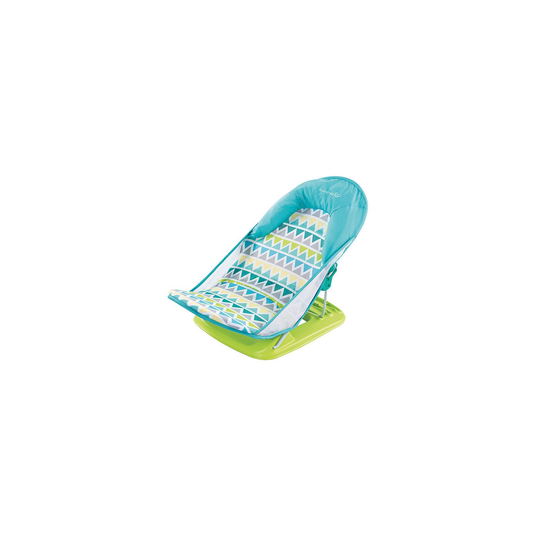 Лежак для купания Deluxe Baby Bather, Summer Infant, голубой, зигзагВанны, горки, сиденья<br>Лежак для купания в ванну Deluxe Baby Bather от Summer Infant обеспечит оптимальную поддержку при купании малыша.<br>С мягким подголовником.<br>Спинка имеет 3 положения.<br>Тканевая основа лежака устойчива к появлению плесени, а также легко снимается и стирается в стиральной машине.<br>Можно установить как в ванной, так и в раковине.<br>Компактный.<br>Прост и удобен в применении.<br>Рекомендовано для детей от 0 до 3 месяцев<br><br>Ширина мм: 610<br>Глубина мм: 325<br>Высота мм: 335<br>Вес г: 2000<br>Возраст от месяцев: 0<br>Возраст до месяцев: 3<br>Пол: Унисекс<br>Возраст: Детский<br>SKU: 6856033