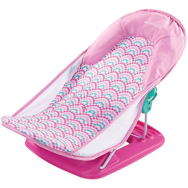Лежак для купания Deluxe Baby Bather, Summer Infant, розовый,волныТовары для купания<br>Лежак для купания в ванну Deluxe Baby Bather от Summer Infant обеспечит оптимальную поддержку при купании малыша.<br>С мягким подголовником.<br>Спинка имеет 3 положения.<br>Тканевая основа лежака устойчива к появлению плесени, а также легко снимается и стирается в стиральной машине.<br>Можно установить как в ванной, так и в раковине.<br>Компактный.<br>Прост и удобен в применении.<br>Рекомендовано для детей от 0 до 3 месяцев<br>Ширина мм: 610; Глубина мм: 325; Высота мм: 335; Вес г: 2000; Возраст от месяцев: 0; Возраст до месяцев: 3; Пол: Унисекс; Возраст: Детский; SKU: 6856034;