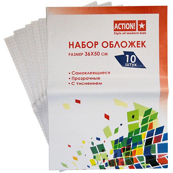 ACTION! Самоклеящиеся обложки для книг A4Школьные аксессуары<br>Характеристики товара:<br><br>• в комплекте: 10 обложек;<br>• формат: А4;<br>• материал: ПВХ;<br>• размер упаковки: 36х50 см;<br>• вес: 300 грамм;<br>• возраст: от 6 лет.<br><br>Самоклеящиеся обложки сохранят книги и тетради ребёнка в течение всего учебного года. В набор входят 10 самоклеящихся обложек формата А4. Обложки изготовлены из качественного поливинилхлорида без содержания токсичных веществ. Обложки не имеют запаха, не ломаются и сохраняют свои свойства при длительном использовании.<br><br>ACTION! (Экшен!) Самоклеящиеся обложки для книг A4 можно купить в нашем интернет-магазине.<br>Ширина мм: 500; Глубина мм: 360; Высота мм: 10; Вес г: 300; Возраст от месяцев: 84; Возраст до месяцев: 156; Пол: Унисекс; Возраст: Детский; SKU: 6858968;
