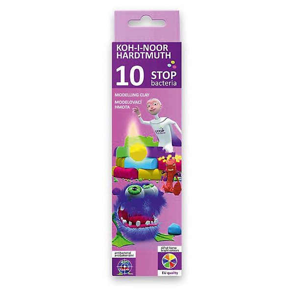 KOH-I-NOOR Пластилин 10 цветовРисование и лепка<br>Характеристики товара:<br><br>• в комплекте: 10 брусочков (10 цветов);<br>• антибактериальный эффект;<br>• возраст: от 3 лет;<br>• размер упаковки: 2х7х15 см;<br>• вес: 200 грамм.<br><br>В комплект входят 10 брусочков цветного пластилина. Пластилин хорошо мнется, не липнет к рукам и быстро обретает нужную форму. Не содержит токсичных материалов. Не имеет запаха.<br><br>Главная особенность пластилина - антибактериальный эффект. Специальный компонент, входящий в состав пластина, препятствует размножению бактерий.<br><br>KOH-I-NOOR (Кохинор) Пластилин 10 цветов можно купить в нашем интернет-магазине.<br><br>Ширина мм: 150<br>Глубина мм: 70<br>Высота мм: 20<br>Вес г: 200<br>Возраст от месяцев: 36<br>Возраст до месяцев: 168<br>Пол: Унисекс<br>Возраст: Детский<br>SKU: 6858983