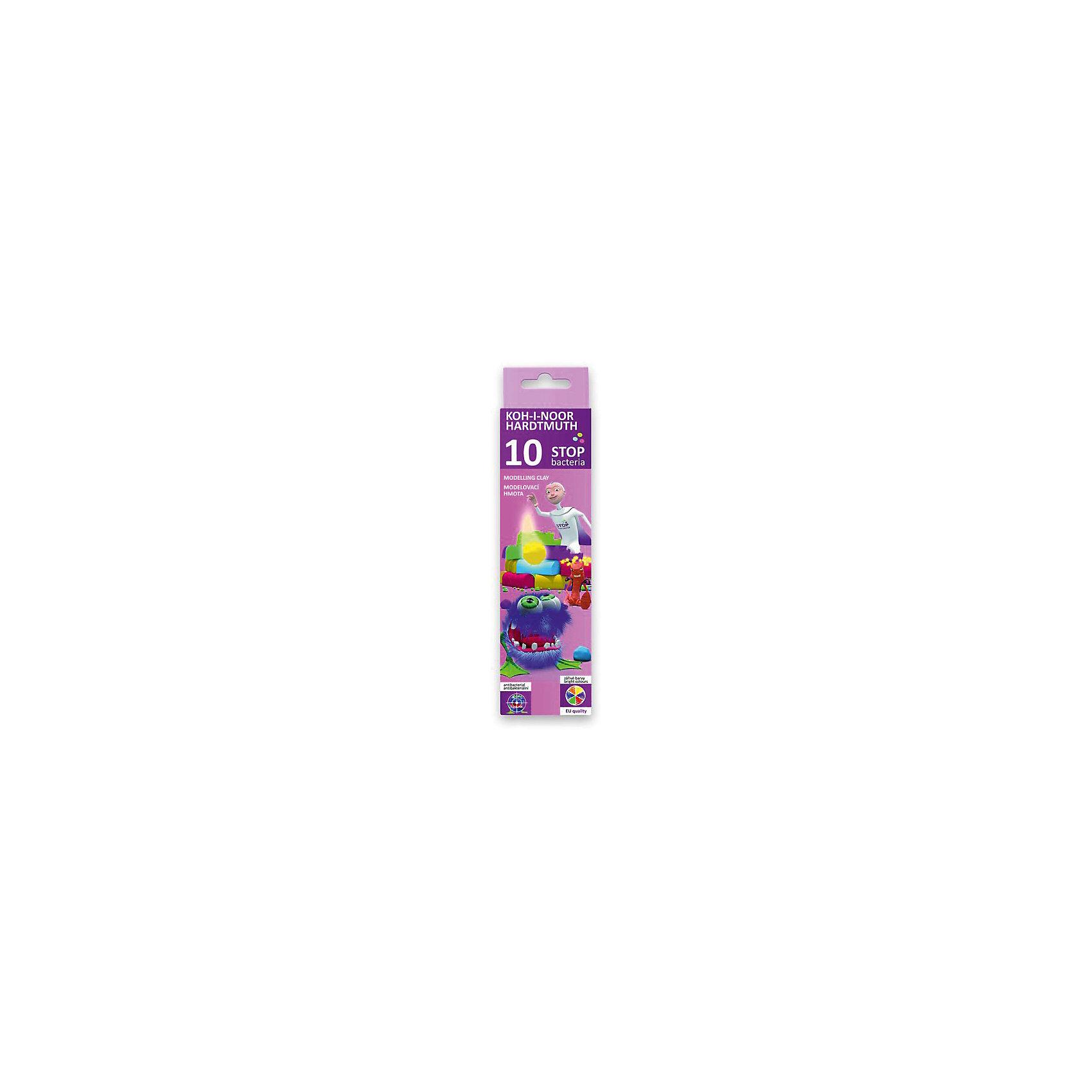 KOH-I-NOOR Пластилин 10 цветовРисование и лепка<br>Антибактериальный, содержит в составе специальные вещества, препятствующие росту и размножению бактерий на его поверхности.  Пластичный, нетоксичный, без запаха, не липнет к рукам, хорошая разминаемость. В картонной коробке с европодвесом. 10 цветов, 200 г<br><br>Ширина мм: 150<br>Глубина мм: 70<br>Высота мм: 20<br>Вес г: 200<br>Возраст от месяцев: 36<br>Возраст до месяцев: 168<br>Пол: Унисекс<br>Возраст: Детский<br>SKU: 6858983