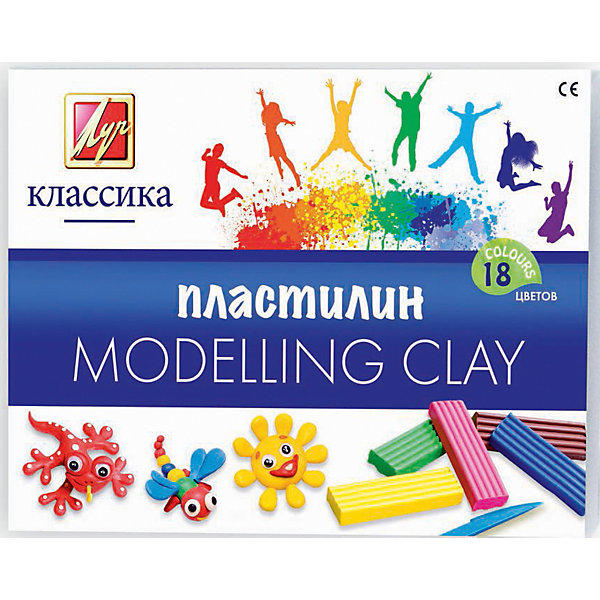 Луч Пластилин 18 цветовРисование и лепка<br>Характеристики товара:<br><br>• в комплекте: 18 брусочков пластилина, стек;<br>• вес брусочка: 20 грамм;<br>• размер упаковки: 2х10х15 см;<br>• вес: 360 грамм;<br>• возраст: от 3 лет.<br><br>Пластилин «Классика» подходит для создания поделок и занятий лепкой. Пластилин хорошо разминается, не липнет к рукам и легко принимает нужную форму. Готовые поделки долго сохраняют внешний вид. В комплект входят 18 брусочков пластилина и стек. Разные цвета можно смешивать для создания новых оттенков.<br><br>Луч Пластилин 18 цветов можно купить в нашем интернет-магазине.<br><br>Ширина мм: 150<br>Глубина мм: 100<br>Высота мм: 20<br>Вес г: 360<br>Возраст от месяцев: 36<br>Возраст до месяцев: 168<br>Пол: Унисекс<br>Возраст: Детский<br>SKU: 6858985