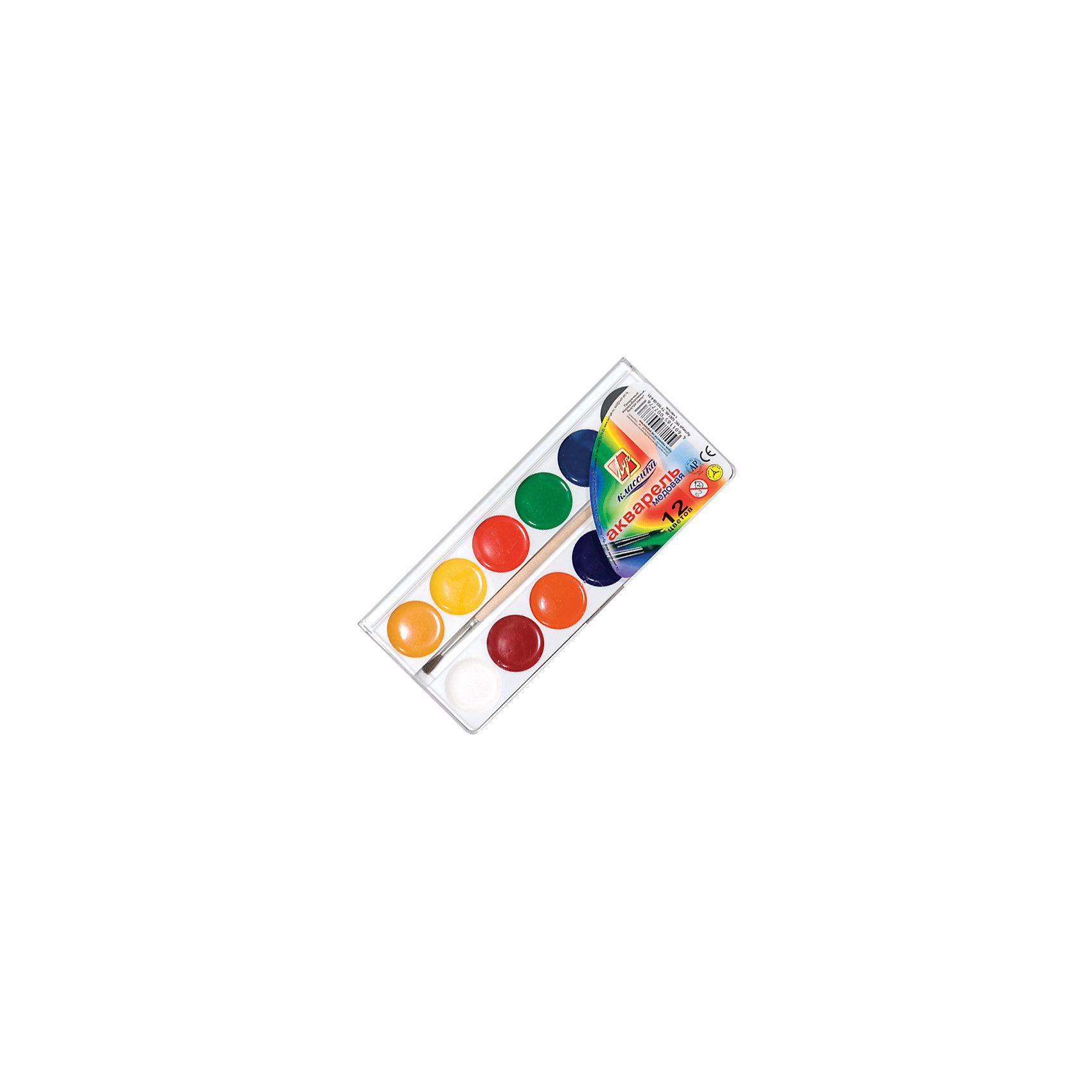 ЛУЧ Акварель 12 цветовРисование и лепка<br>Характеристики товара:<br><br>• количество цветов: 12;<br>• кисть в комплекте;<br>• изготовлены с добавлением меда и патоки;<br>• размер упаковки: 10х16х1,5 см;<br>• вес: 100 грамм;<br>• возраст: от 3 лет.<br><br>Медовая акварель отлично подойдет для создания рисунков, поделок и раскрашивания. Палитра включает 12 ярких, насыщенных оттенков. Для рисования достаточно немного намочить кисть и окунуть ее в краску. После нанесения краска быстро высыхает, оставляя полупрозрачный цвет. Акварель изготовлена на основе натуральных компонентов,  с добавлением патоки и меда. В комплект входит кисточка.<br><br>ЛУЧ Акварель 12 цветов можно купить в нашем интернет-магазине.<br><br>Ширина мм: 160<br>Глубина мм: 100<br>Высота мм: 15<br>Вес г: 100<br>Возраст от месяцев: 36<br>Возраст до месяцев: 168<br>Пол: Унисекс<br>Возраст: Детский<br>SKU: 6858995