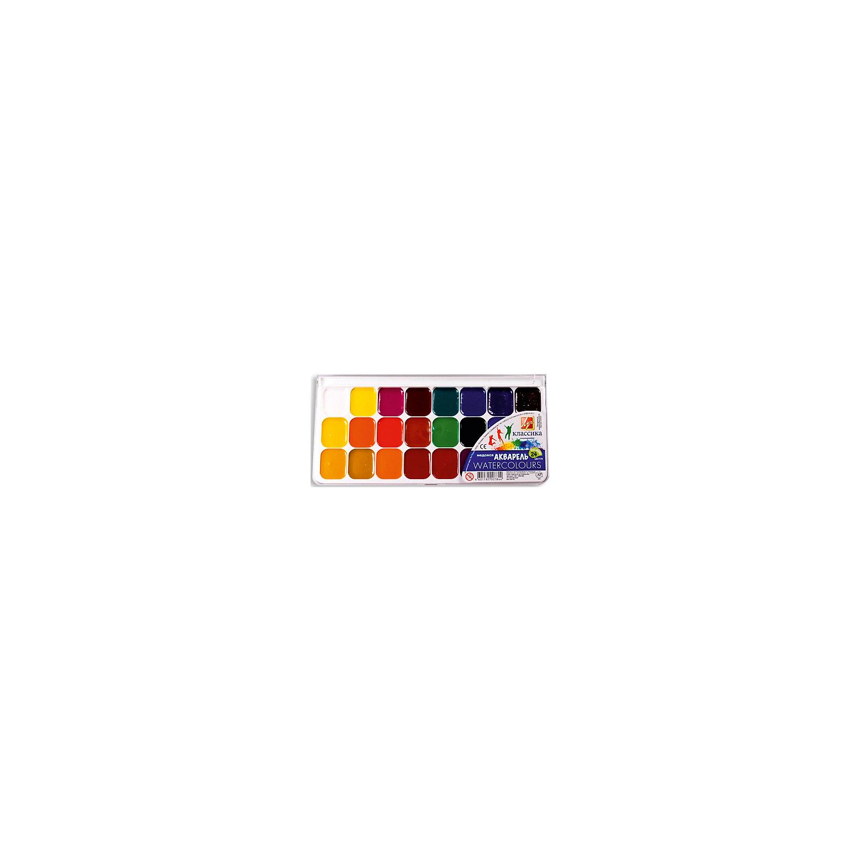 ЛУЧ Акварель 24 цветаРисование и лепка<br>Характеристики товара:<br><br>• количество цветов: 24;<br>• кисть в комплекте;<br>• изготовлены с добавлением меда и патоки;<br>• размер упаковки: 1,5х10х16 см;<br>• вес: 155 грамм;<br>• возраст: от 3 лет.<br><br>Медовая акварель отлично подойдет для создания рисунков, поделок и раскрашивания. Палитра включает 24 ярких, насыщенных оттенков. Для рисования достаточно немного намочить кисть и окунуть ее в краску. После нанесения краска быстро высыхает, оставляя полупрозрачный цвет. Акварель изготовлена на основе натуральных компонентов,  с добавлением патоки и меда. В комплект входит кисточка.<br><br>ЛУЧ Акварель 24 цвета можно купить в нашем интернет-магазине.<br><br>Ширина мм: 160<br>Глубина мм: 130<br>Высота мм: 15<br>Вес г: 184<br>Возраст от месяцев: 36<br>Возраст до месяцев: 168<br>Пол: Унисекс<br>Возраст: Детский<br>SKU: 6858997