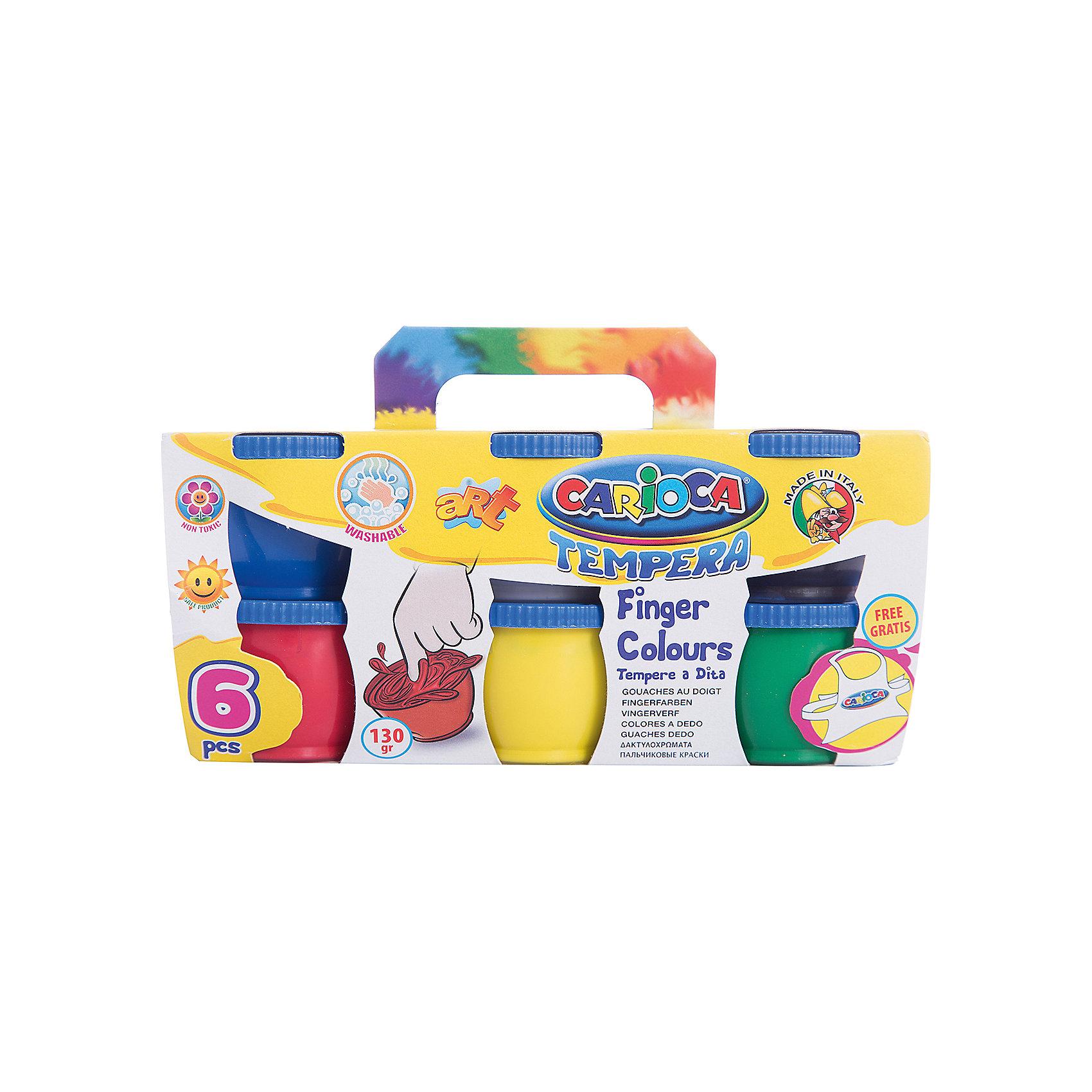 CARIOCA Краски пальчиковые 6 цветовПальчиковые краски<br>Характеристики товара:<br><br>• в комплекте: 6 баночек с краской (6 цветов);<br>• фартук в комплекте;<br>• объем баночки: 135 грамм;<br>• размер упаковки: 10х10х17 см;<br>• вес: 667 грамм;<br>• возраст: от 3 лет.<br><br>Пальчиковые краски подходят даже для самых маленьких художников. Для рисования не нужны кисти, ведь рисовать можно руками, пальчиками или даже ножками. В набор от CARIOCA входят 6 баночек с краской. Оттенки можно смешивать для получения новых, насыщенных цветов. После рисования краски быстро смываются водой, не оставляя следов.<br><br>В комплект входит фартук, защищающий одежду малыша от загрязнений. Краски изготовлены из экологически чистых материалов, безопасных для детей.<br><br>CARIOCA (Кариока) Краски пальчиковые 6 цветов можно купить в нашем интернет-магазине.<br><br>Ширина мм: 170<br>Глубина мм: 100<br>Высота мм: 100<br>Вес г: 667<br>Возраст от месяцев: 36<br>Возраст до месяцев: 168<br>Пол: Унисекс<br>Возраст: Детский<br>SKU: 6859004