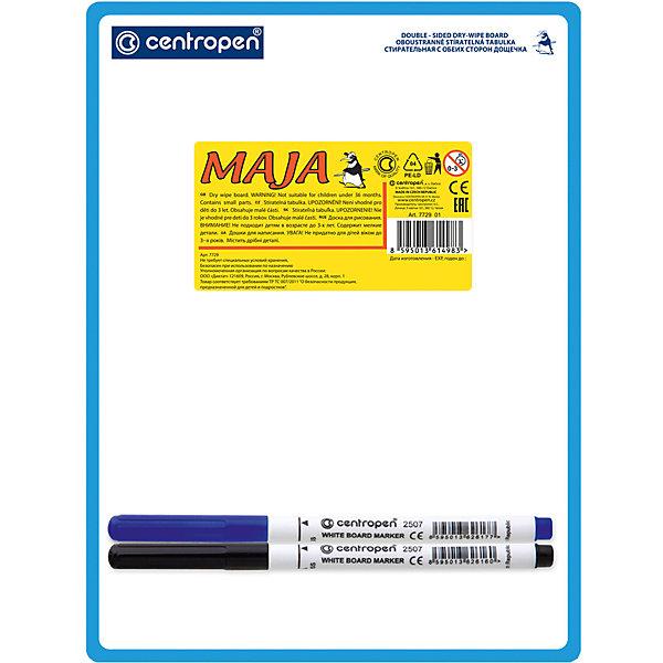 CENTROPEN Доска двухсторонняяДоски<br>Характеристики товара:<br><br>• есть отверстие для подвешивания;<br>• два маркера в комплекте;<br>• цвета маркеров: синий, чёрный;<br>• формат доски: А5;<br>• размер доски: 18х24 см;<br>• материал: пластик;<br>• размер упаковки: 1х18х24 см;<br>• вес: 79 грамм;<br>• возраст: от 3 лет.<br><br>Двусторонняя доска Centropen подходит для обучения и самостоятельных занятий. В комплект входят два маркера синего и черного цветов. После работы с доской рисунки легко стираются губкой. Доска имеет небольшой размер, благодаря чему ее удобно брать с собой. С верхнего края есть специальное отверстие для подвешивания.<br><br>CENTROPEN Доску двухстороннюю можно купить в нашем интернет-магазине.<br>Ширина мм: 240; Глубина мм: 180; Высота мм: 10; Вес г: 79; Возраст от месяцев: 36; Возраст до месяцев: 168; Пол: Унисекс; Возраст: Детский; SKU: 6859009;