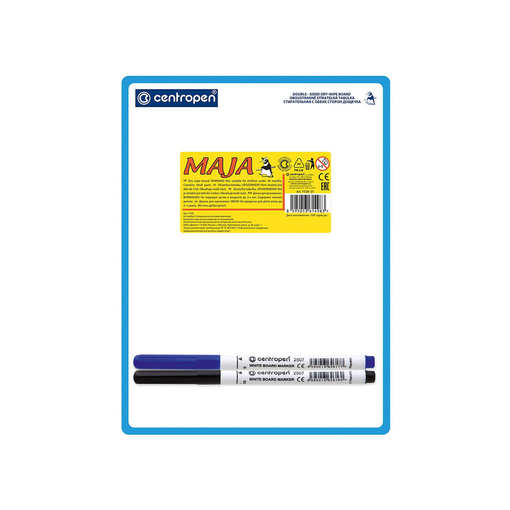 CENTROPEN Доска двухсторонняяДоски<br>Характеристики товара:<br><br>• есть отверстие для подвешивания;<br>• два маркера в комплекте;<br>• цвета маркеров: синий, чёрный;<br>• формат доски: А5;<br>• размер доски: 18х24 см;<br>• материал: пластик;<br>• размер упаковки: 1х18х24 см;<br>• вес: 79 грамм;<br>• возраст: от 3 лет.<br><br>Двусторонняя доска Centropen подходит для обучения и самостоятельных занятий. В комплект входят два маркера синего и черного цветов. После работы с доской рисунки легко стираются губкой. Доска имеет небольшой размер, благодаря чему ее удобно брать с собой. С верхнего края есть специальное отверстие для подвешивания.<br><br>CENTROPEN Доску двухстороннюю можно купить в нашем интернет-магазине.<br><br>Ширина мм: 240<br>Глубина мм: 180<br>Высота мм: 10<br>Вес г: 79<br>Возраст от месяцев: 36<br>Возраст до месяцев: 168<br>Пол: Унисекс<br>Возраст: Детский<br>SKU: 6859009
