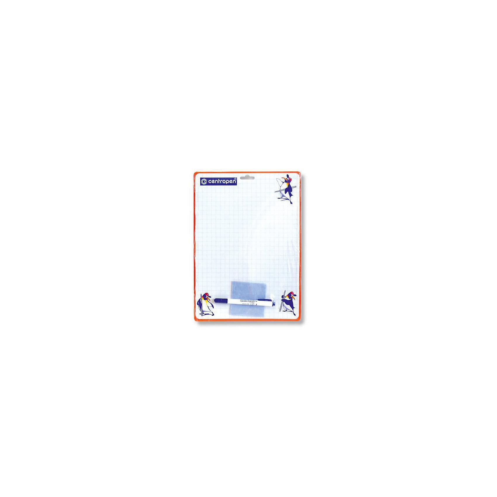 CENTROPEN Доска двухсторонняяДоски<br>Характеристики товара:<br><br>• есть отверстие для подвешивания;<br>• в комплекте: доска, маркер, салфетка;<br>• размер доски: 34х24 см;<br>• материал: пластик;<br>• размер упаковки: 1х34х24 см;<br>• вес: 122 грамма;<br>• возраст: от 3 лет.<br><br>На двусторонней доске удобно рисовать и выполнять различные задания. Поверхность доски выполнена в клетку и дополнена цветными рисунками. В комплект входят маркер и салфетка. Если ребенок совершит ошибку - изображение легко сотрется. А новый рисунок можно наносить сразу после удаления старого. На верхней части доски есть отверстие для подвешивания.<br><br>CENTROPEN Доску двухстороннюю можно купить в нашем интернет-магазине.<br><br>Ширина мм: 340<br>Глубина мм: 240<br>Высота мм: 10<br>Вес г: 122<br>Возраст от месяцев: 36<br>Возраст до месяцев: 168<br>Пол: Унисекс<br>Возраст: Детский<br>SKU: 6859010