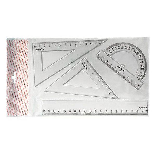 ACTION! Набор для черченияЧертежные принадлежности<br>Характеристики товара:<br><br>• в комплекте: линейка, треугольник 30°, треугольник 45°, транспортир;<br>• линейка: 20 см;<br>• треугольник 30°: 13 см;<br>• треугольник 45°: 9 см;<br>• транспортир: 10 см;<br>• материал: пластик;<br>• размер упаковки: 0,5х13х23 см;<br>• вес: 40 грамм;<br>• возраст: от 3 лет.<br><br>Набор для черчения включает в себя линейку длиной 20 сантиметров, треугольник 30 градусов, треугольник 45 градусов и транспортир. Все элементы изготовлены из прочного прозрачного пластика. Четко нанесенные линии помогут ребенку выполнить точные измерения. <br><br>ACTION! (Экшен!) Набор для черчения можно купить в нашем интернет-магазине.<br><br>Ширина мм: 230<br>Глубина мм: 130<br>Высота мм: 5<br>Вес г: 40<br>Возраст от месяцев: 36<br>Возраст до месяцев: 168<br>Пол: Унисекс<br>Возраст: Детский<br>SKU: 6859011