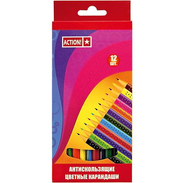 ACTION! Набор карандашей 12цв, трехгранных, антискользящихПисьменные принадлежности<br>Характеристики товара:<br><br>• в комплекте: 12 карандашей ( 12 цветов);<br>• нескользящая поверхность;<br>• размер упаковки: 1х12х17 см;<br>• вес: 81 грамм;<br>• возраст: от 3 лет.<br><br>Цветные карандаши ACTION! выполнены в ярких цветах. Благодаря улучшенному грифелю они оставляют мягкие, равномерные штрихи. Главная особенность карандашей - нескользящая поверхность. Карандаши подходят для рисования на бумаге, картоне и других поверхностях.<br><br>ACTION! (Экшен!) Набор карандашей 12цв, трехгранных, антискользящих можно купить в нашем интернет-магазине.<br>Ширина мм: 170; Глубина мм: 120; Высота мм: 10; Вес г: 81; Возраст от месяцев: 36; Возраст до месяцев: 168; Пол: Унисекс; Возраст: Детский; SKU: 6859027;