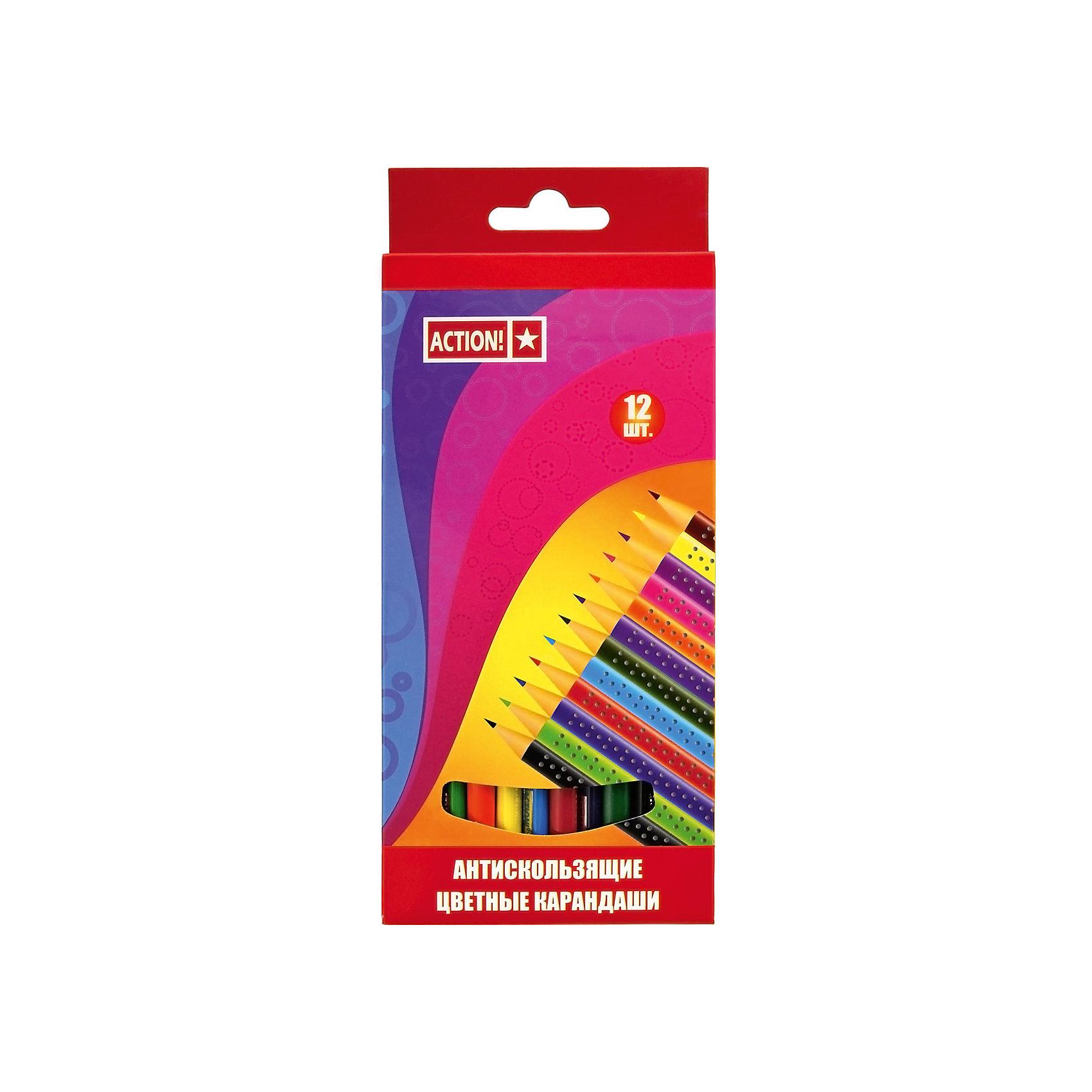 ACTION! Набор карандашей 12цв, трехгранных, антискользящихПисьменные принадлежности<br>Характеристики товара:<br><br>• в комплекте: 12 карандашей ( 12 цветов);<br>• нескользящая поверхность;<br>• размер упаковки: 1х12х17 см;<br>• вес: 81 грамм;<br>• возраст: от 3 лет.<br><br>Цветные карандаши ACTION! выполнены в ярких цветах. Благодаря улучшенному грифелю они оставляют мягкие, равномерные штрихи. Главная особенность карандашей - нескользящая поверхность. Карандаши подходят для рисования на бумаге, картоне и других поверхностях.<br><br>ACTION! (Экшен!) Набор карандашей 12цв, трехгранных, антискользящих можно купить в нашем интернет-магазине.<br><br>Ширина мм: 170<br>Глубина мм: 120<br>Высота мм: 10<br>Вес г: 81<br>Возраст от месяцев: 36<br>Возраст до месяцев: 168<br>Пол: Унисекс<br>Возраст: Детский<br>SKU: 6859027