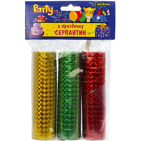 Набор серпантина к празднику, голографический, 3 шт, 0,7*300 смАксессуары для детского праздника<br>Характеристики:<br><br>• возраст: от 3 лет<br>• в наборе: серпантин 3 цветов<br>• размер: 0,7х300 см.<br>• материал: фольгированная бумага с голографией<br><br>Серпантин, изготовленный из фольгированной бумаги с голографией, выглядит очень нарядно. Разноцветные узкие бумажные ленты, свернутые в рулончики можно бросать в публику во время праздников, балов и маскарадов, либо развешивать в местах проведения торжеств.<br><br>Набор серпантина к празднику, голографического, 3 шт, 0,7*300 см можно купить в нашем интернет-магазине.<br>Ширина мм: 100; Глубина мм: 30; Высота мм: 30; Вес г: 108; Возраст от месяцев: 36; Возраст до месяцев: 2147483647; Пол: Унисекс; Возраст: Детский; SKU: 6860596;
