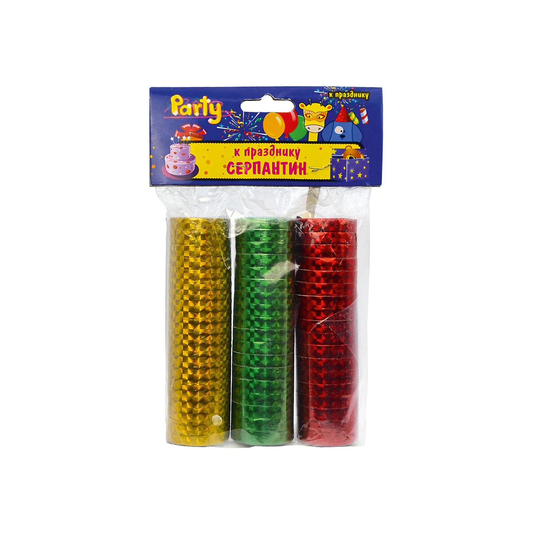 Набор серпантина к празднику, голографический, 3 шт, 0,7*300 смАксессуары для детского праздника<br>Характеристики:<br><br>• возраст: от 3 лет<br>• в наборе: серпантин 3 цветов<br>• размер: 0,7х300 см.<br>• материал: фольгированная бумага с голографией<br><br>Серпантин, изготовленный из фольгированной бумаги с голографией, выглядит очень нарядно. Разноцветные узкие бумажные ленты, свернутые в рулончики можно бросать в публику во время праздников, балов и маскарадов, либо развешивать в местах проведения торжеств.<br><br>Набор серпантина к празднику, голографического, 3 шт, 0,7*300 см можно купить в нашем интернет-магазине.<br><br>Ширина мм: 100<br>Глубина мм: 30<br>Высота мм: 30<br>Вес г: 108<br>Возраст от месяцев: 36<br>Возраст до месяцев: 2147483647<br>Пол: Унисекс<br>Возраст: Детский<br>SKU: 6860596