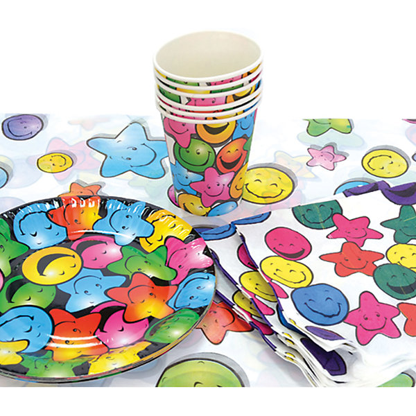 Набор для праздника Смайлик, 130см*180 смДетские наборы одноразовой посуды<br>Характеристики:<br><br>• возраст: от 3 лет<br>• в наборе: 6 тарелок, 6 стаканов, 6 салфеток, скатерть<br>• диаметр тарелок: 22 см.<br>• объем стаканов: 250 мл.<br>• размер скатерти: 130х80 см.<br>• материал: полимерный материал, бумага, картон<br><br>Набор для праздника «Смайлик» на 6 персон включает все необходимое для сервировки стола к детскому празднику: скатерть из полимерного материала, бумажные салфетки и одноразовую посуду (стаканы и тарелки) из плотного картона. Все предметы украшены яркими веселыми смайликами.<br><br>Предметы набора выполнены из экологичных безопасных материалов.<br><br>Набор для праздника Смайлик, 130см*180 см можно купить в нашем интернет-магазине.<br><br>Ширина мм: 300<br>Глубина мм: 300<br>Высота мм: 100<br>Вес г: 180<br>Возраст от месяцев: 36<br>Возраст до месяцев: 2147483647<br>Пол: Унисекс<br>Возраст: Детский<br>SKU: 6860598