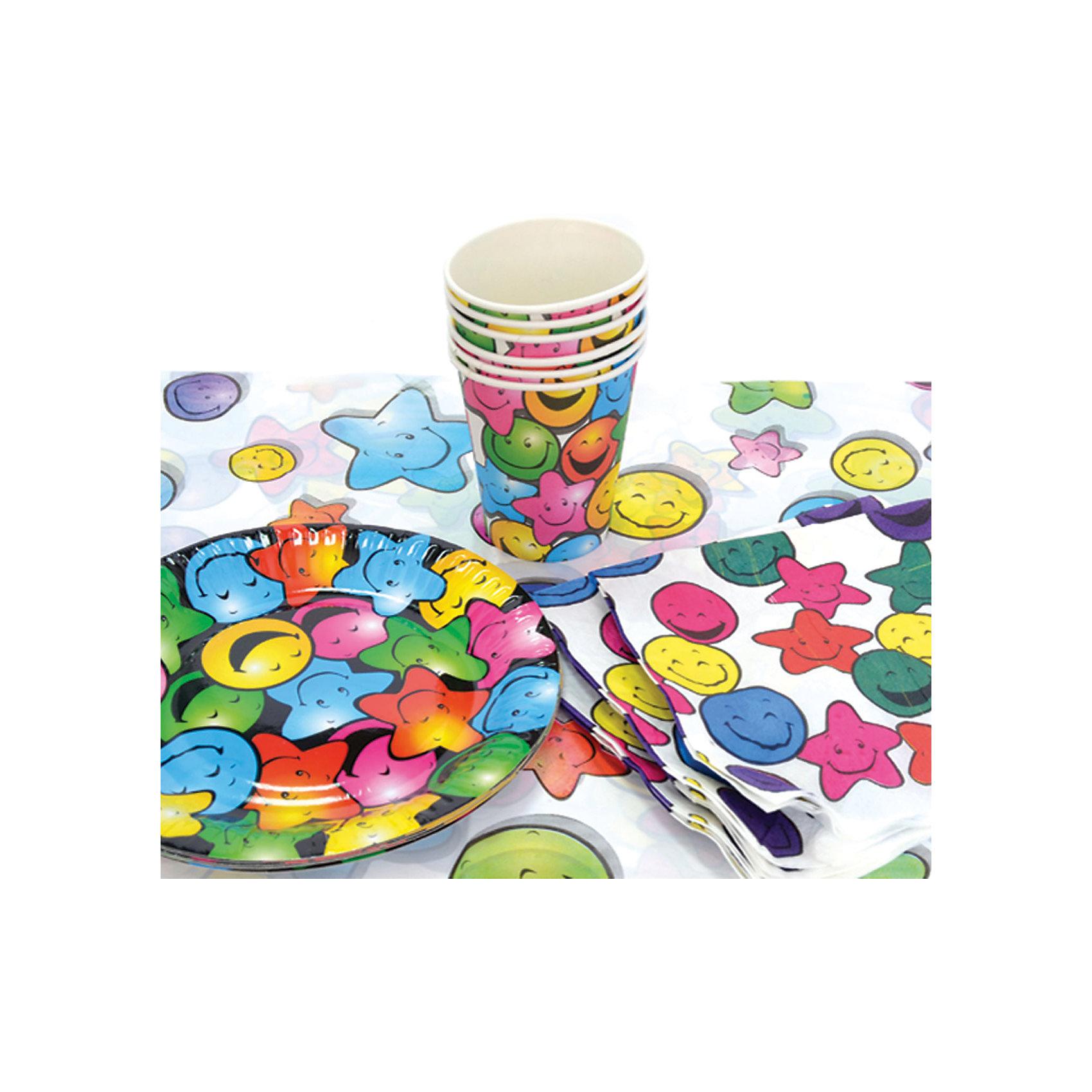 Набор для праздника Смайлик, 130см*180 смВсё для праздника<br>Характеристики:<br><br>• возраст: от 3 лет<br>• в наборе: 6 тарелок, 6 стаканов, 6 салфеток, скатерть<br>• диаметр тарелок: 22 см.<br>• объем стаканов: 250 мл.<br>• размер скатерти: 130х80 см.<br>• материал: полимерный материал, бумага, картон<br><br>Набор для праздника «Смайлик» на 6 персон включает все необходимое для сервировки стола к детскому празднику: скатерть из полимерного материала, бумажные салфетки и одноразовую посуду (стаканы и тарелки) из плотного картона. Все предметы украшены яркими веселыми смайликами.<br><br>Предметы набора выполнены из экологичных безопасных материалов.<br><br>Набор для праздника Смайлик, 130см*180 см можно купить в нашем интернет-магазине.<br><br>Ширина мм: 300<br>Глубина мм: 300<br>Высота мм: 100<br>Вес г: 180<br>Возраст от месяцев: 36<br>Возраст до месяцев: 2147483647<br>Пол: Унисекс<br>Возраст: Детский<br>SKU: 6860598