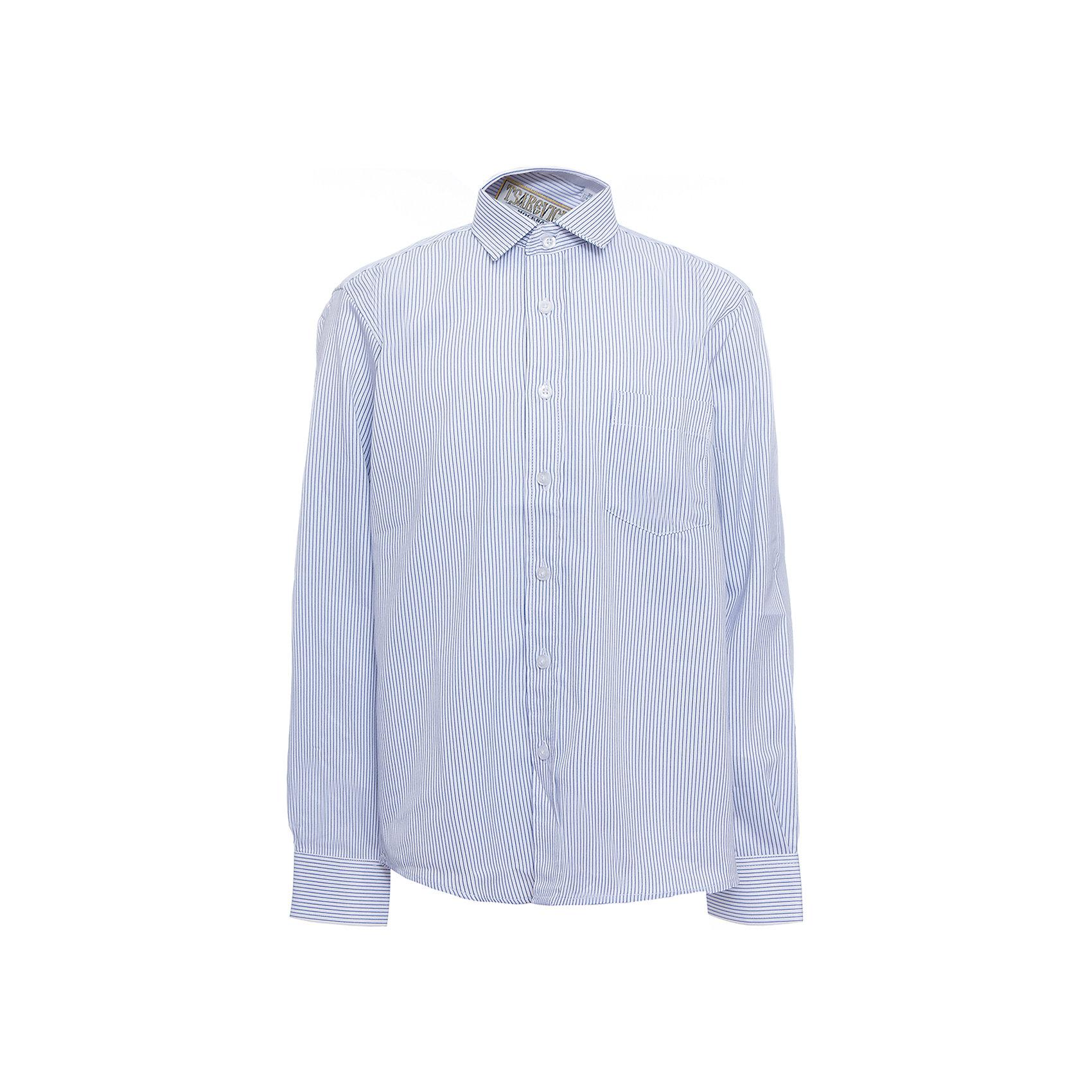 Рубашка для мальчика TsarevichБлузки и рубашки<br>Характеристики товара:<br><br>• цвет: голубой<br>• состав ткани: 65% хлопок, 35% полиэстер<br>• особенности: школьная, праздничная<br>• застежка: пуговицы<br>• рукава: длинные<br>• сезон: круглый год<br>• страна бренда: Российская Федерация<br>• страна изготовитель: Китай<br><br>Классическая сорочка для мальчика - отличный вариант практичной и стильной школьной одежды.<br><br>Классическая форма, накладной карман, воротник с отсрочкой, свободный крой, дышащая ткань с преобладанием хлопка - красиво и удобно.<br><br>Рубашку для мальчика Tsarevich (Царевич) можно купить в нашем интернет-магазине.<br><br>Ширина мм: 174<br>Глубина мм: 10<br>Высота мм: 169<br>Вес г: 157<br>Цвет: голубой<br>Возраст от месяцев: 132<br>Возраст до месяцев: 144<br>Пол: Мужской<br>Возраст: Детский<br>Размер: 152/158,164/170,152/158,122/128,128/134,134/140,140/146,146/152,158/164,146/152<br>SKU: 6860633