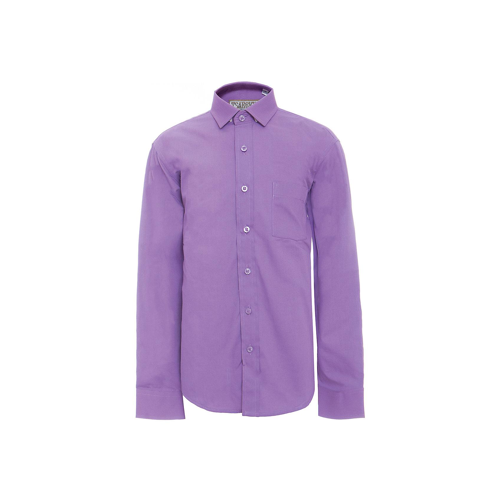 Рубашка для мальчика TsarevichБлузки и рубашки<br>Характеристики товара:<br><br>• цвет: фиолетовый<br>• состав ткани: 80% хлопок, 20% полиэстер<br>• особенности: школьная, праздничная<br>• застежка: пуговицы<br>• рукава: длинные<br>• сезон: круглый год<br>• страна бренда: Российская Федерация<br>• страна изготовитель: Китай<br><br>Сорочка классического кроя для мальчика - отличный вариант практичной и стильной школьной одежды.<br><br>Классическая форма, накладной карман, воротник с отсрочкой, свободный крой, дышащая ткань с преобладанием хлопка - красиво и удобно.<br><br>Рубашку для мальчика Tsarevich (Царевич) можно купить в нашем интернет-магазине.<br><br>Ширина мм: 174<br>Глубина мм: 10<br>Высота мм: 169<br>Вес г: 157<br>Цвет: лиловый<br>Возраст от месяцев: 156<br>Возраст до месяцев: 168<br>Пол: Мужской<br>Возраст: Детский<br>Размер: 164/170,122/128,128/134,134/140,140/146,146/152,146/152,152/158,152/158,158/164<br>SKU: 6860666
