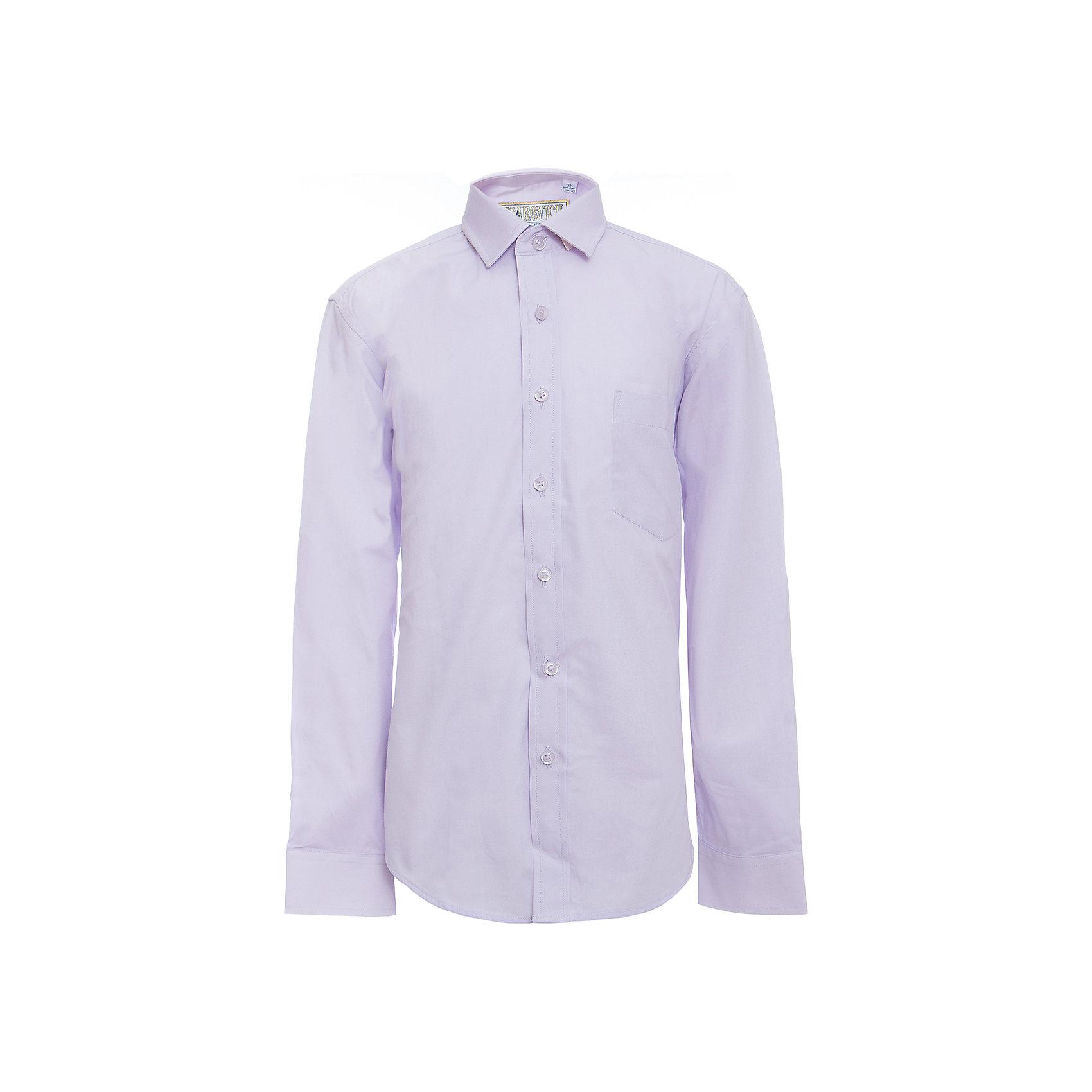 Рубашка для мальчика TsarevichБлузки и рубашки<br>Характеристики товара:<br><br>• цвет: сиреневый<br>• состав ткани: 80% хлопок, 20% полиэстер<br>• особенности: школьная, праздничная<br>• застежка: пуговицы<br>• рукава: длинные<br>• сезон: круглый год<br>• страна бренда: Российская Федерация<br>• страна изготовитель: Китай<br><br>Сорочка классического кроя для мальчика - отличный вариант практичной и стильной школьной одежды.<br><br>Классическая форма, накладной карман, воротник с отсрочкой, свободный крой, дышащая ткань с преобладанием хлопка - красиво и удобно.<br><br>Рубашку для мальчика Tsarevich (Царевич) можно купить в нашем интернет-магазине.<br><br>Ширина мм: 174<br>Глубина мм: 10<br>Высота мм: 169<br>Вес г: 157<br>Цвет: лиловый<br>Возраст от месяцев: 84<br>Возраст до месяцев: 96<br>Пол: Мужской<br>Возраст: Детский<br>Размер: 128/134,134/140,140/146,146/152,146/152,152/158,152/158,158/164,164/170,122/128<br>SKU: 6860677