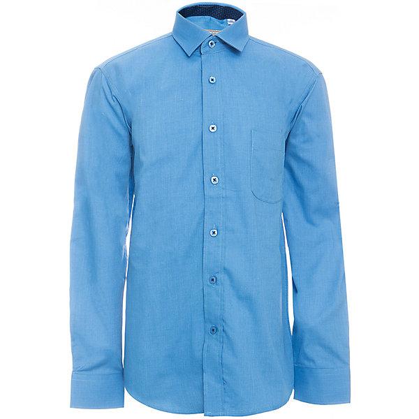 Рубашка для мальчика TsarevichБлузки и рубашки<br>Характеристики товара:<br><br>• цвет: синий<br>• состав ткани: 80% хлопок, 20% полиэстер<br>• особенности: школьная, праздничная<br>• застежка: пуговицы<br>• рукава: длинные<br>• сезон: круглый год<br>• страна бренда: Российская Федерация<br>• страна изготовитель: Китай<br><br>Классическая сорочка для мальчика - отличный вариант практичной и стильной школьной одежды.<br><br>Накладной карман, воротник с отсрочкой, свободный крой, классическая форма, дышащая ткань с преобладанием хлопка - красиво и удобно.<br><br>Рубашку для мальчика Tsarevich (Царевич) можно купить в нашем интернет-магазине.<br><br>Ширина мм: 174<br>Глубина мм: 10<br>Высота мм: 169<br>Вес г: 157<br>Цвет: синий<br>Возраст от месяцев: 144<br>Возраст до месяцев: 156<br>Пол: Мужской<br>Возраст: Детский<br>Размер: 158/164,164/170,152/158,152/158,146/152,146/152,140/146,134/140,128/134,122/128<br>SKU: 6860699