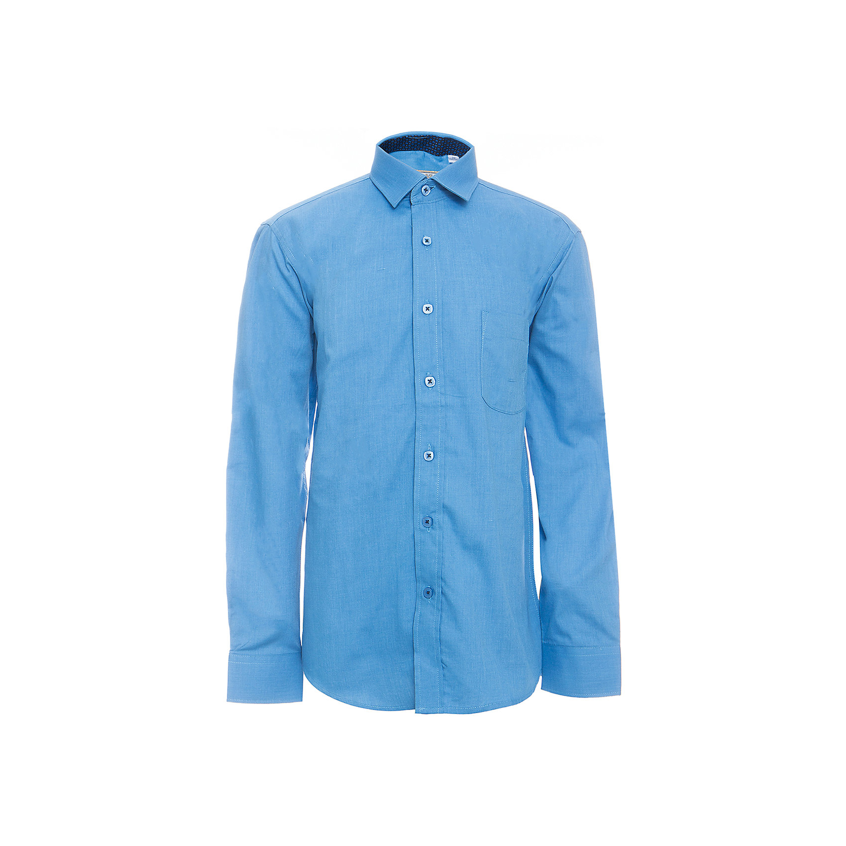 Рубашка для мальчика TsarevichБлузки и рубашки<br>Характеристики товара:<br><br>• цвет: синий<br>• состав ткани: 80% хлопок, 20% полиэстер<br>• особенности: школьная, праздничная<br>• застежка: пуговицы<br>• рукава: длинные<br>• сезон: круглый год<br>• страна бренда: Российская Федерация<br>• страна изготовитель: Китай<br><br>Классическая сорочка для мальчика - отличный вариант практичной и стильной школьной одежды.<br><br>Накладной карман, воротник с отсрочкой, свободный крой, классическая форма, дышащая ткань с преобладанием хлопка - красиво и удобно.<br><br>Рубашку для мальчика Tsarevich (Царевич) можно купить в нашем интернет-магазине.<br><br>Ширина мм: 174<br>Глубина мм: 10<br>Высота мм: 169<br>Вес г: 157<br>Цвет: синий<br>Возраст от месяцев: 120<br>Возраст до месяцев: 132<br>Пол: Мужской<br>Возраст: Детский<br>Размер: 146/152,152/158,158/164,152/158,164/170,122/128,128/134,134/140,140/146,146/152<br>SKU: 6860699