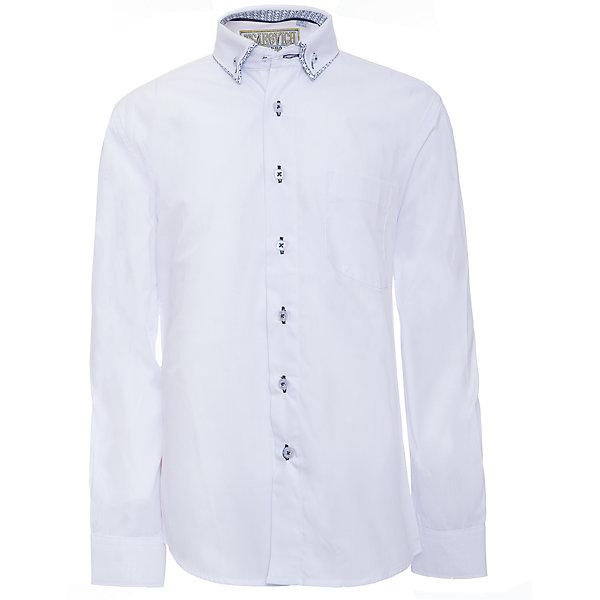 Рубашка для мальчика TsarevichБлузки и рубашки<br>Характеристики товара:<br><br>• цвет: белый<br>• состав ткани: 80% хлопок, 20% полиэстер<br>• особенности: школьная, праздничная<br>• застежка: пуговицы<br>• рукава: длинные<br>• сезон: круглый год<br>• страна бренда: Российская Федерация<br>• страна изготовитель: Китай<br><br>Сорочка классического кроя для мальчика - отличный вариант практичной и стильной школьной одежды.<br><br>Классическая форма, накладной карман, воротник с отсрочкой, свободный крой, дышащая ткань с преобладанием хлопка - красиво и удобно.<br><br>Рубашку для мальчика Tsarevich (Царевич) можно купить в нашем интернет-магазине.<br>Ширина мм: 174; Глубина мм: 10; Высота мм: 169; Вес г: 157; Цвет: белый; Возраст от месяцев: 120; Возраст до месяцев: 132; Пол: Мужской; Возраст: Детский; Размер: 146/152,164/170,122/128,128/134,134/140,140/146,146/152,152/158,152/158,158/164; SKU: 6860710;