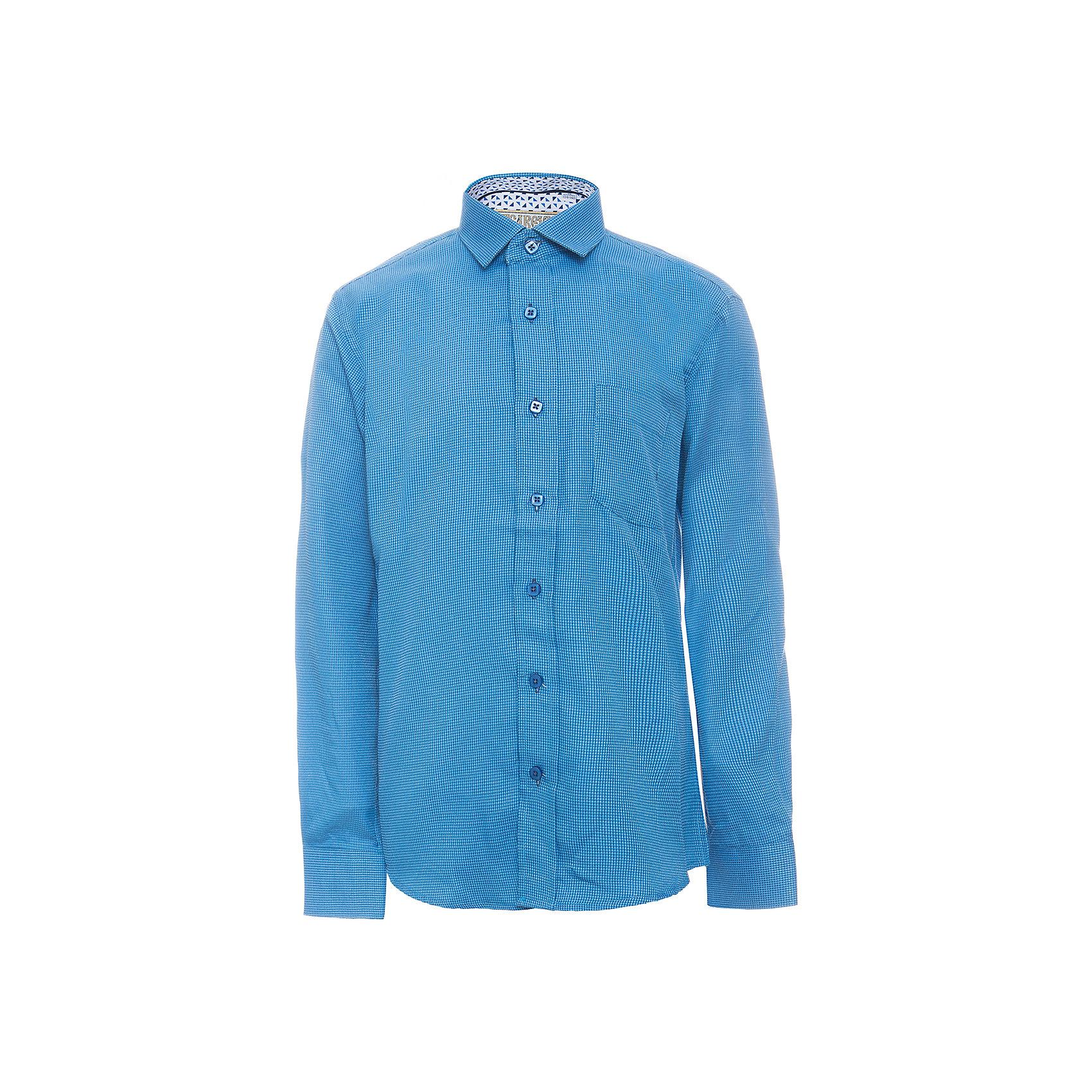 Рубашка для мальчика TsarevichБлузки и рубашки<br>Характеристики товара:<br><br>• цвет: синий<br>• состав ткани: 80% хлопок, 20% полиэстер<br>• особенности: школьная, праздничная<br>• застежка: пуговицы<br>• рукава: длинные<br>• сезон: круглый год<br>• страна бренда: Российская Федерация<br>• страна изготовитель: Китай<br><br>Классическая сорочка для мальчика - отличный вариант практичной и стильной школьной одежды.<br><br>Накладной карман, воротник с отсрочкой, свободный крой, классическая форма, дышащая ткань с преобладанием хлопка - красиво и удобно.<br><br>Рубашку для мальчика Tsarevich (Царевич) можно купить в нашем интернет-магазине.<br><br>Ширина мм: 174<br>Глубина мм: 10<br>Высота мм: 169<br>Вес г: 157<br>Цвет: голубой<br>Возраст от месяцев: 156<br>Возраст до месяцев: 168<br>Пол: Мужской<br>Возраст: Детский<br>Размер: 164/170,122/128,128/134,134/140,140/146,146/152,146/152,152/158,152/158,158/164<br>SKU: 6860721