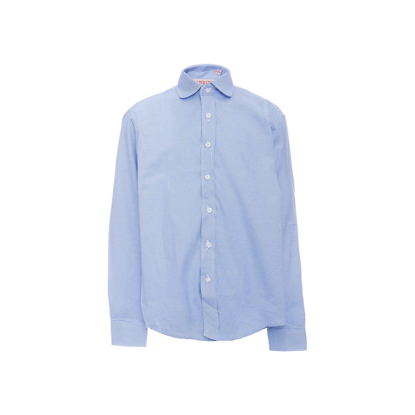 Рубашка для мальчика ImperatorБлузки и рубашки<br>Характеристики товара:<br><br>• цвет: голубой<br>• состав ткани: 65% хлопок, 35% полиэстер<br>• особенности: школьная, праздничная<br>• застежка: пуговицы<br>• рукава: длинные<br>• сезон: круглый год<br>• страна бренда: Российская Федерация<br>• страна изготовитель: Китай<br><br>Сорочка классического кроя для мальчика - отличный вариант практичной и стильной школьной одежды.<br><br>Накладной карман, свободный покрой, дышащая ткань с преобладанием хлопка - красиво и удобно.<br><br>Рубашку для мальчика Imperator (Император) можно купить в нашем интернет-магазине.<br><br>Ширина мм: 174<br>Глубина мм: 10<br>Высота мм: 169<br>Вес г: 157<br>Цвет: голубой<br>Возраст от месяцев: 156<br>Возраст до месяцев: 168<br>Пол: Мужской<br>Возраст: Детский<br>Размер: 164/170,122/128,128/134,134/140,140/146,146/152,152/158,146/152,158/164,152/158<br>SKU: 6860743