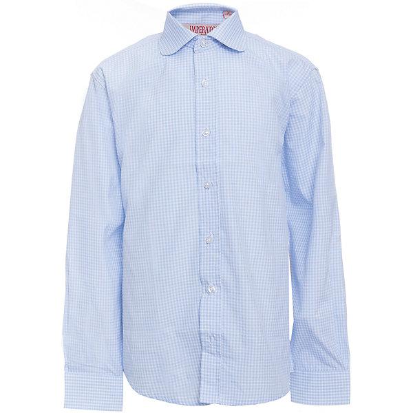 Рубашка для мальчика ImperatorБлузки и рубашки<br>Характеристики товара:<br><br>• цвет: голубой<br>• состав ткани: 65% хлопок, 35% полиэстер<br>• особенности: школьная, праздничная<br>• застежка: пуговицы<br>• рукава: длинные<br>• сезон: круглый год<br>• страна бренда: Российская Федерация<br>• страна изготовитель: Китай<br><br>Классическая сорочка для мальчика - отличный вариант практичной и стильной школьной одежды.<br><br>Накладной карман, свободный покрой, дышащая ткань с преобладанием хлопка - красиво и удобно.<br><br>Рубашку для мальчика Imperator (Император) можно купить в нашем интернет-магазине.<br><br>Ширина мм: 174<br>Глубина мм: 10<br>Высота мм: 169<br>Вес г: 157<br>Цвет: голубой<br>Возраст от месяцев: 120<br>Возраст до месяцев: 132<br>Пол: Мужской<br>Возраст: Детский<br>Размер: 146/152,140/146,134/140,128/134,122/128,164/170,158/164,152/158,152/158,146/152<br>SKU: 6860754